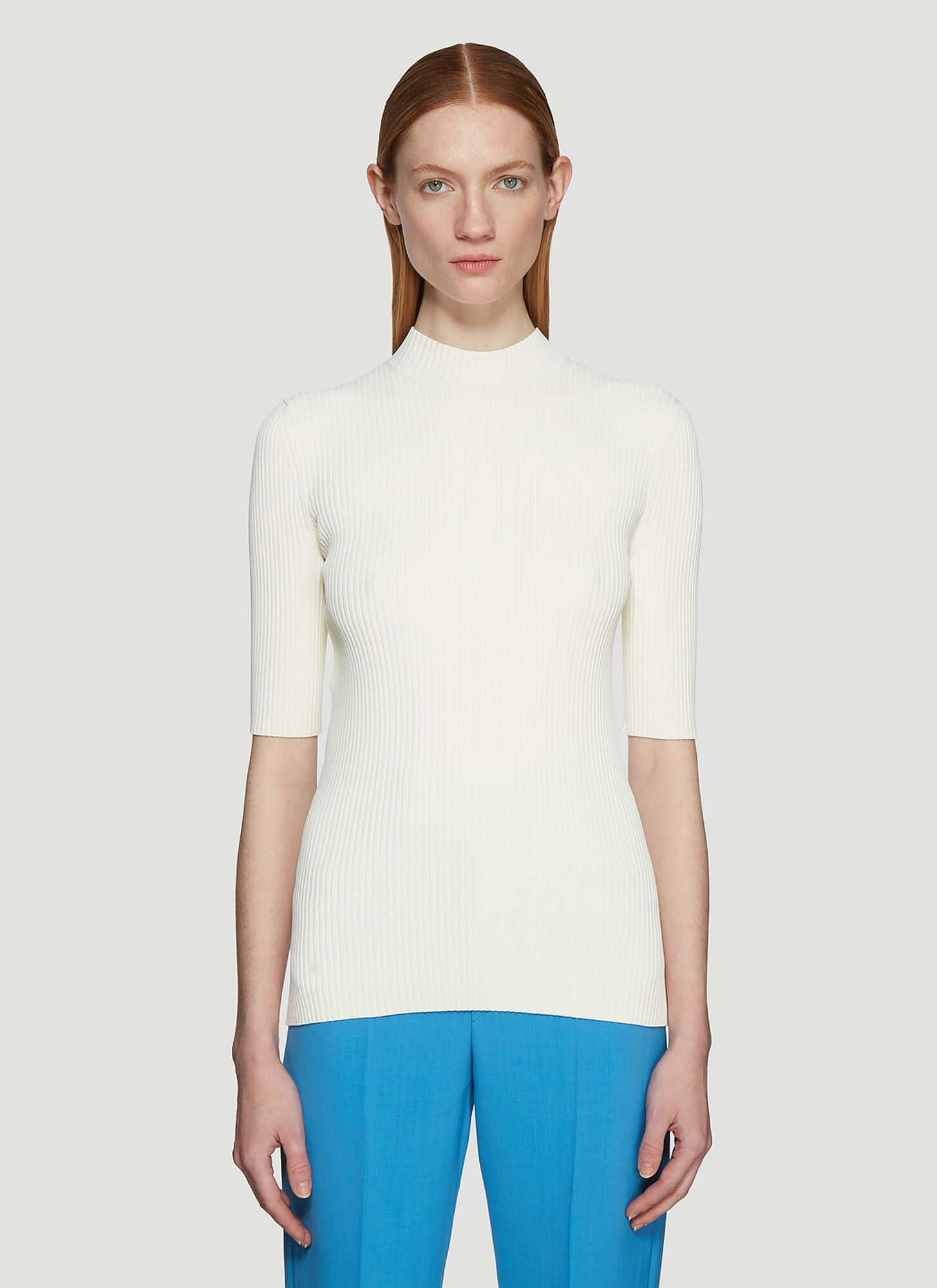 Kwaidan Editions Ribbed Turtleneck Top in Cream