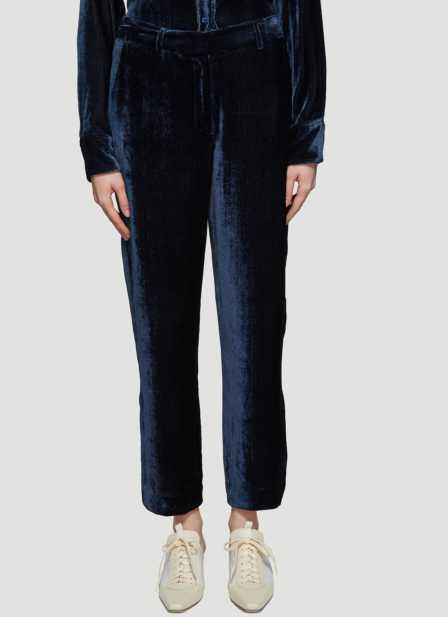 Sies Marjan Willa Fluid Corduroy Cropped Pants in Navy
