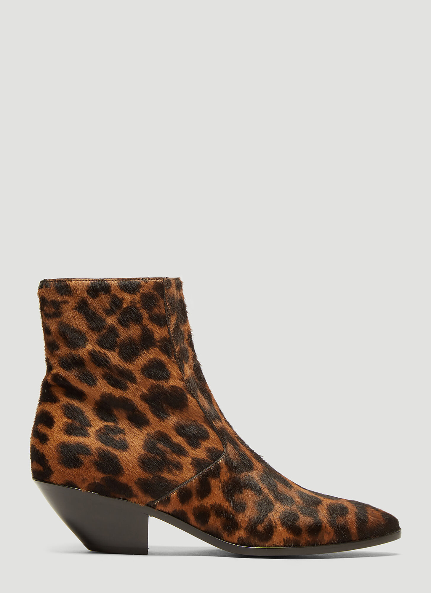 Photo of Saint Laurent West Leopard-Print Calf-Hair Boots in Brown - Saint Laurent Boots