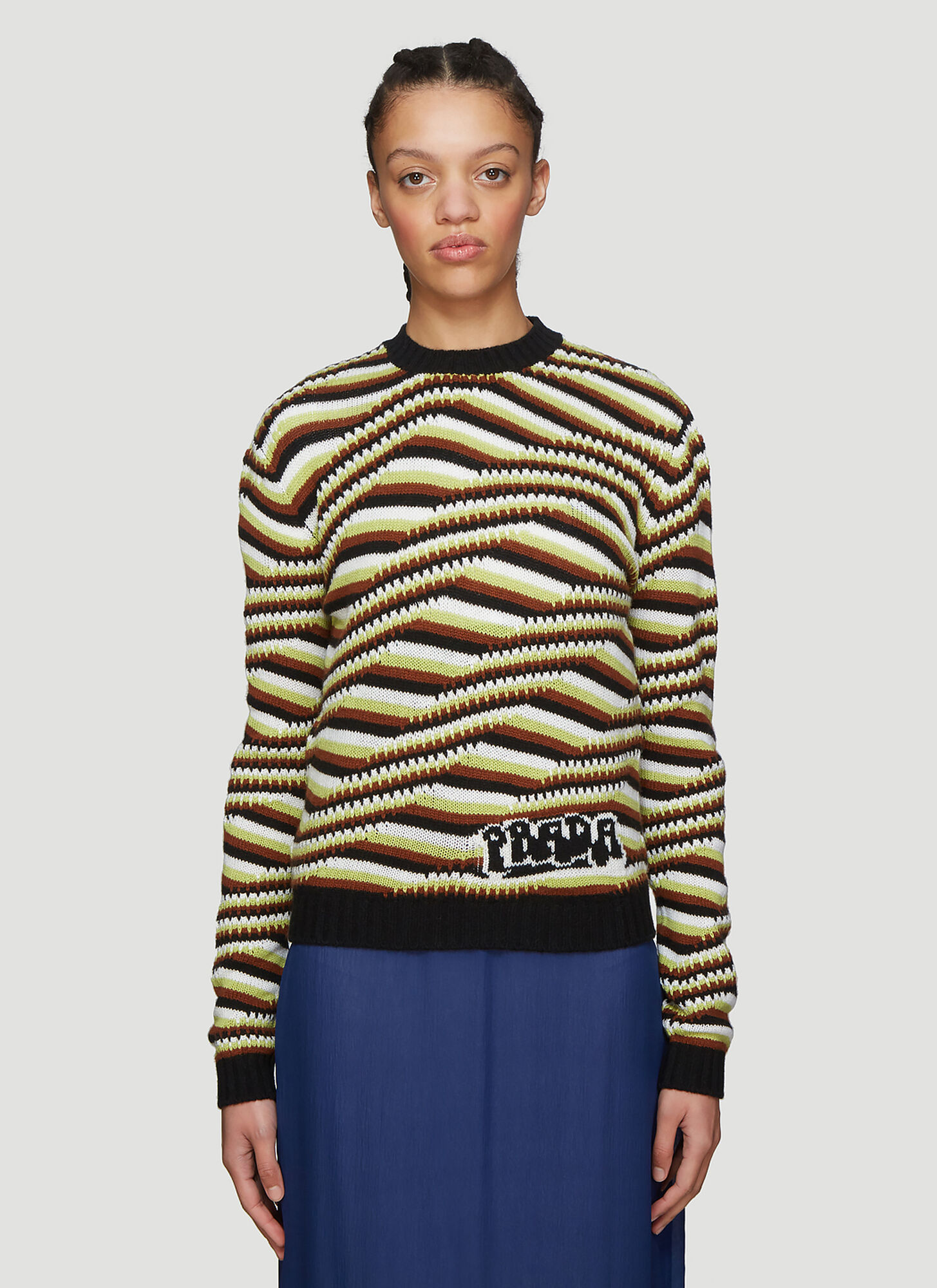 Prada Striped Cashmere Sweater in Brown