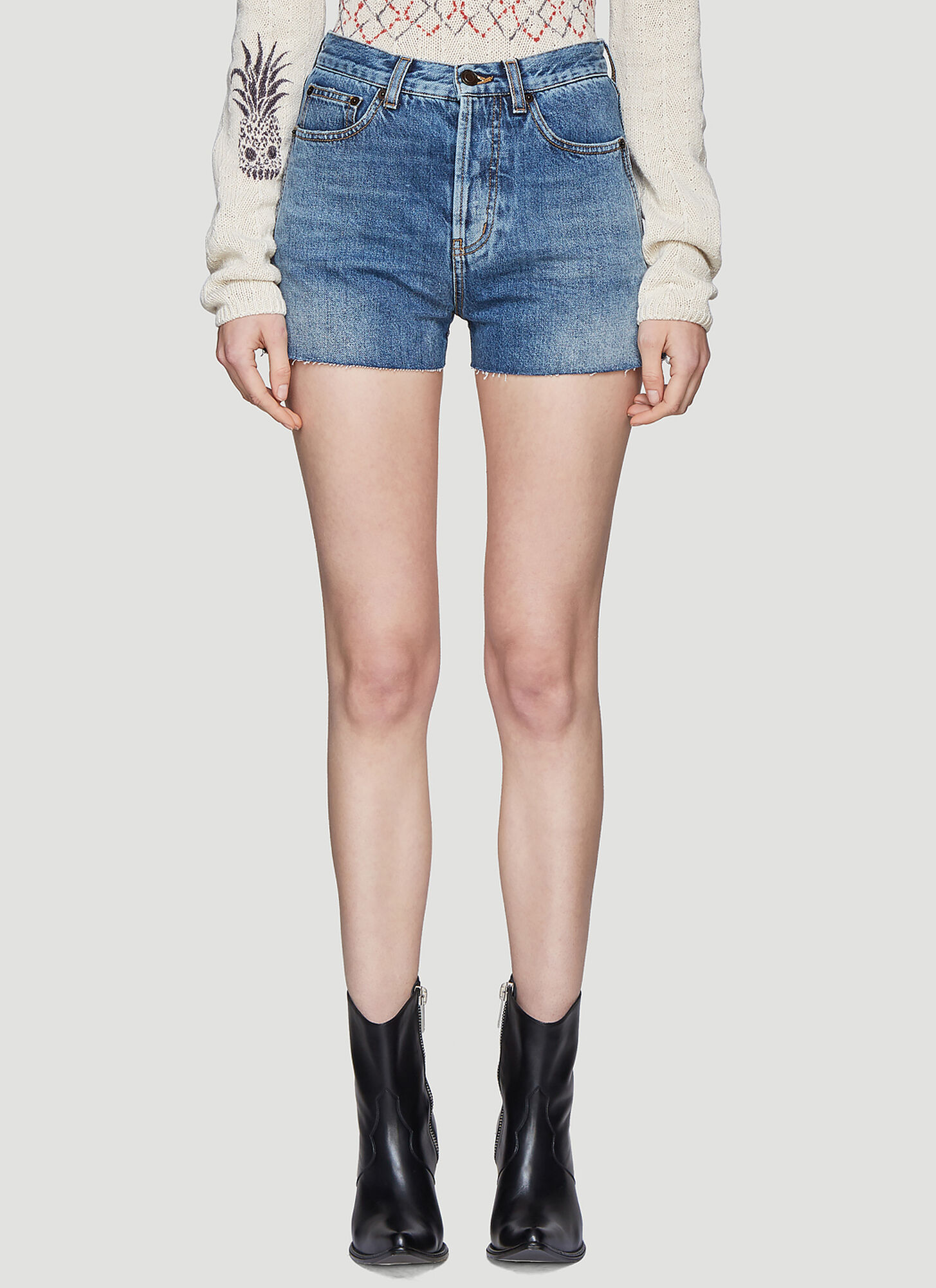 Saint Laurent Bandana Pocket Denim Shorts in Blue