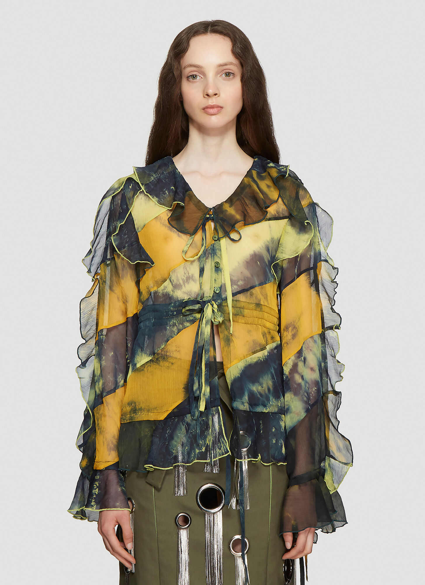 ASAI Tie-Dye Ruffle Shirt in Green
