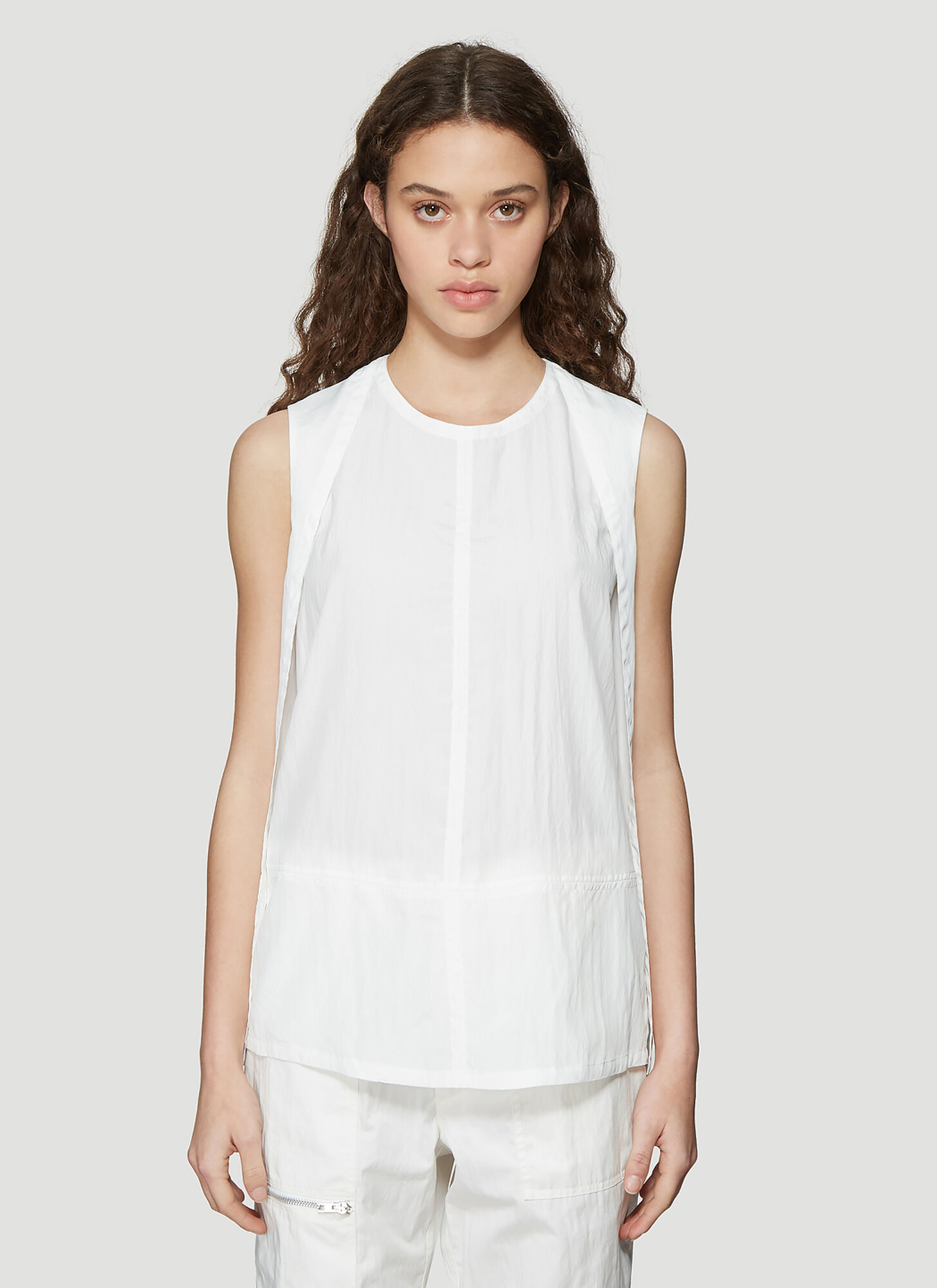 HELMUT LANG | Helmut Lang Sheer Parachute Top In White Size L | Goxip
