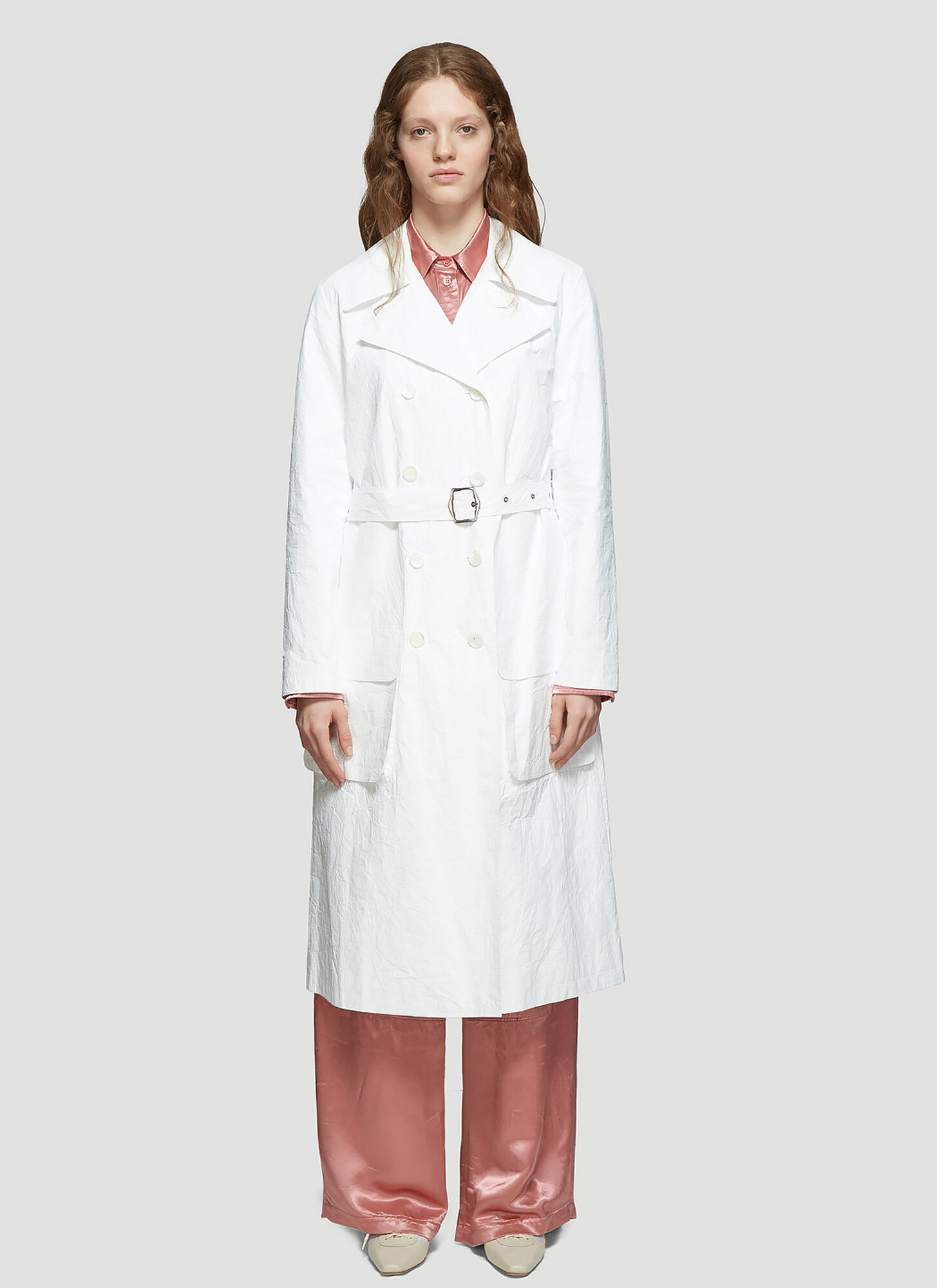 Photo of Sies Marjan Nisa Matte Coated Trench Coat in White - Sies Marjan Coats
