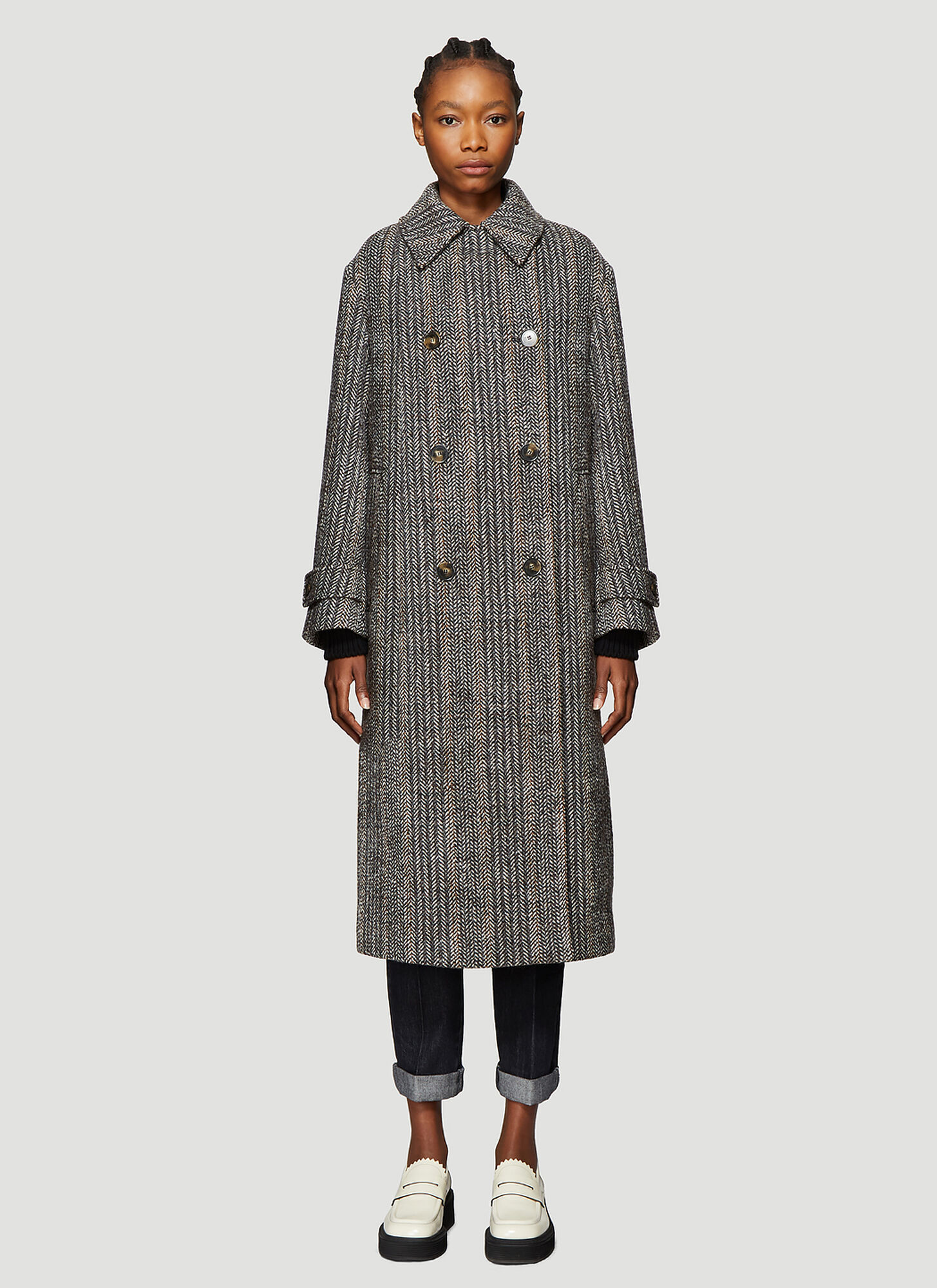 Photo of Stella McCartney Herringbone Tweed Coat in Grey - Stella McCartney Coats