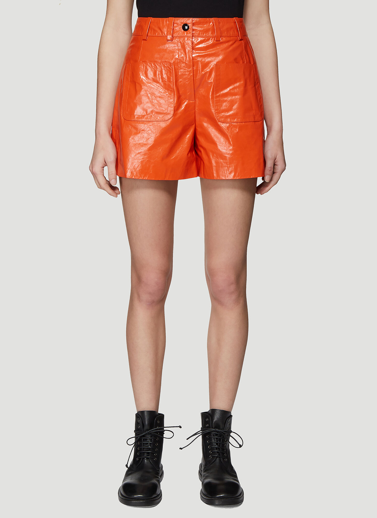 Olivier Theyskens Front Patch Pocket Shorts in Orange