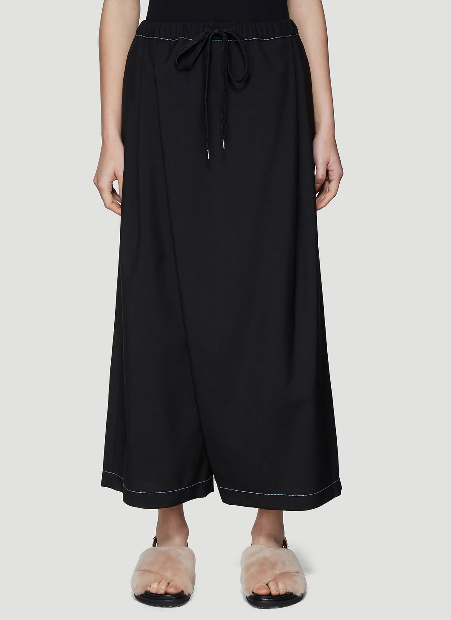 Marni Tropical Wool Wide Leg Pants in Black
