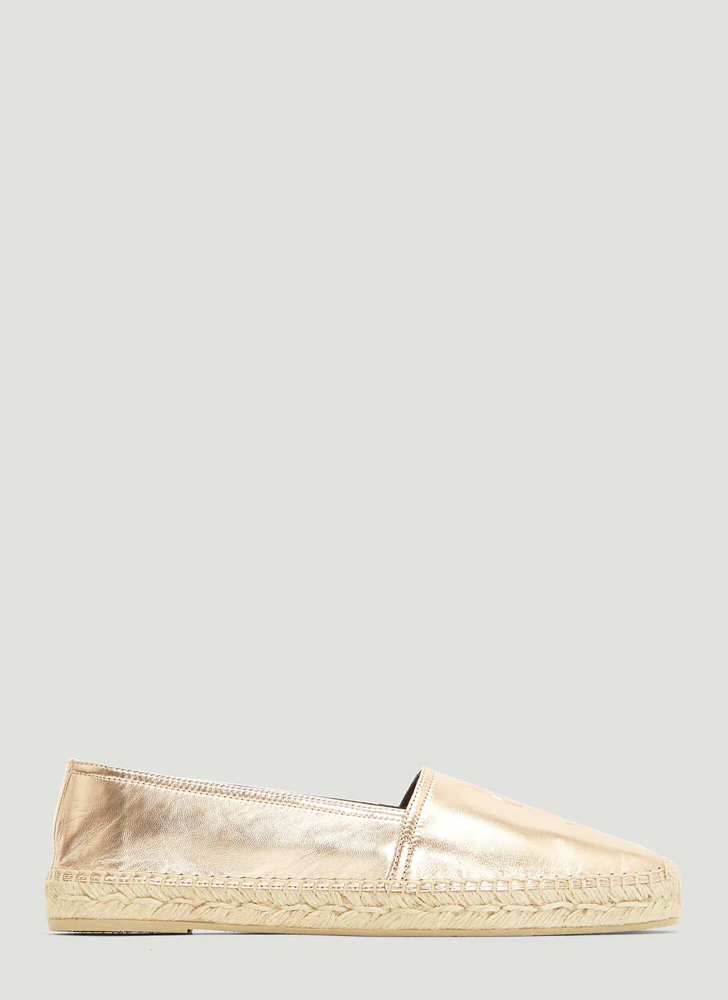 Saint Laurent Metallic Monogram Espadrille Shoes in pink