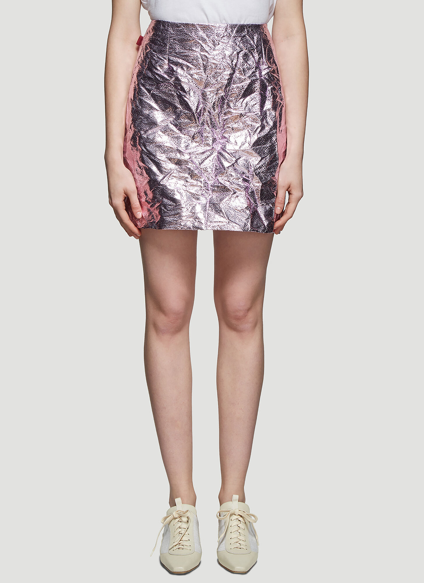 Sies Marjan Desiree Laminated Crinkle Mini Skirt in Pink