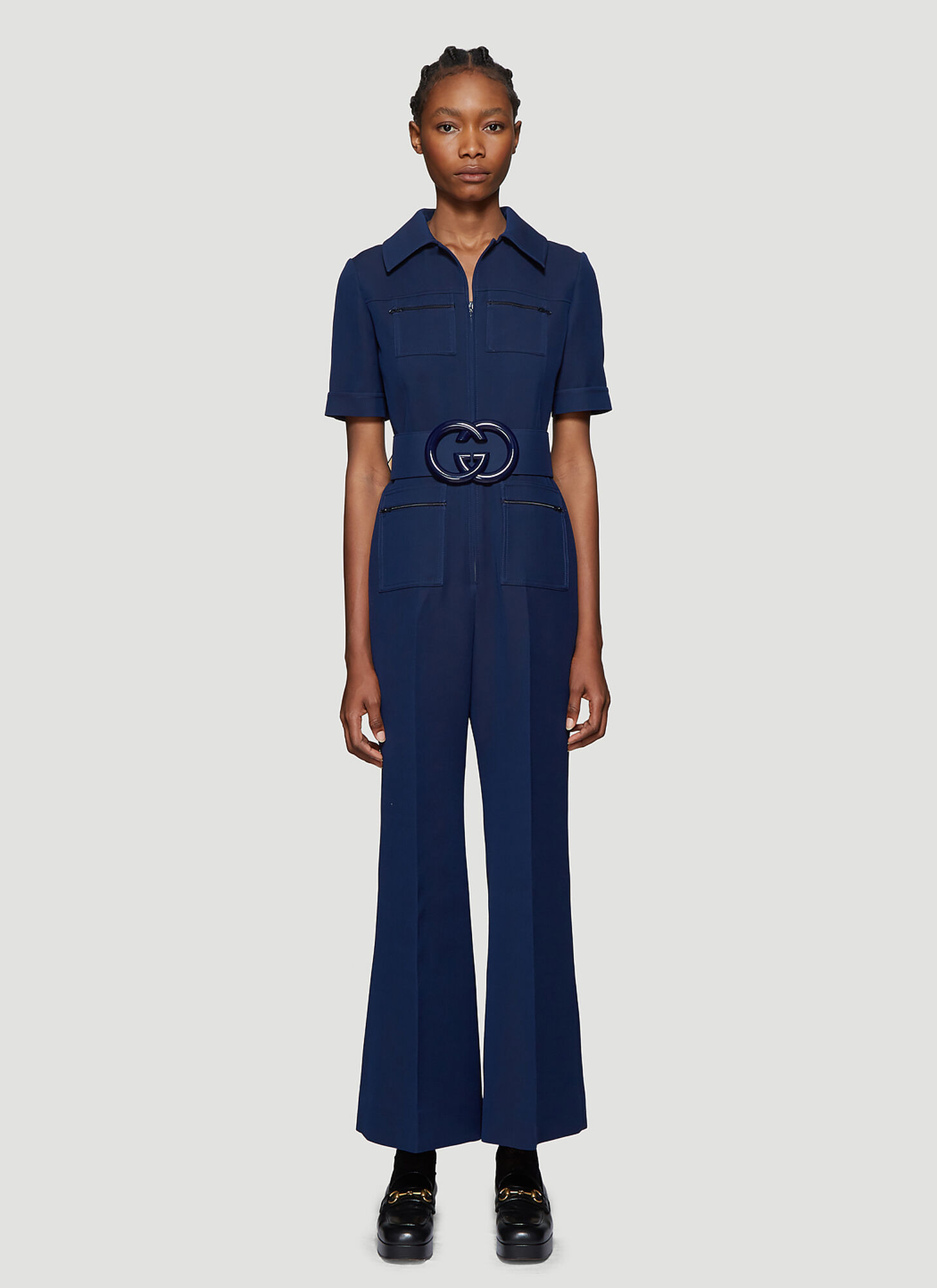 Gucci Belted Wide-Leg Jumpsuit in Blue
