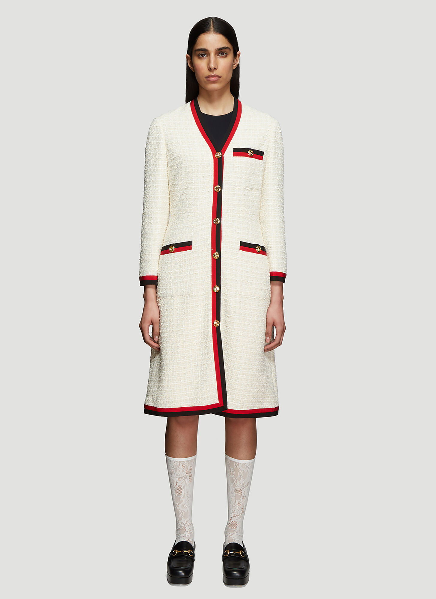Gucci Tweed Half Dress in White