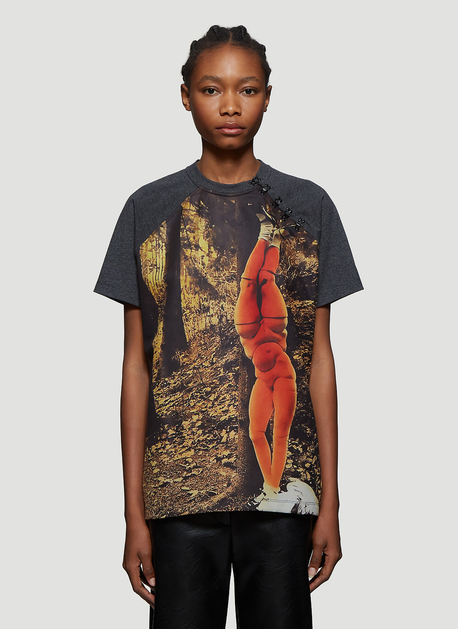 Olivier Theyskens Hook-And-Eye Printed T-Shirt in Grey