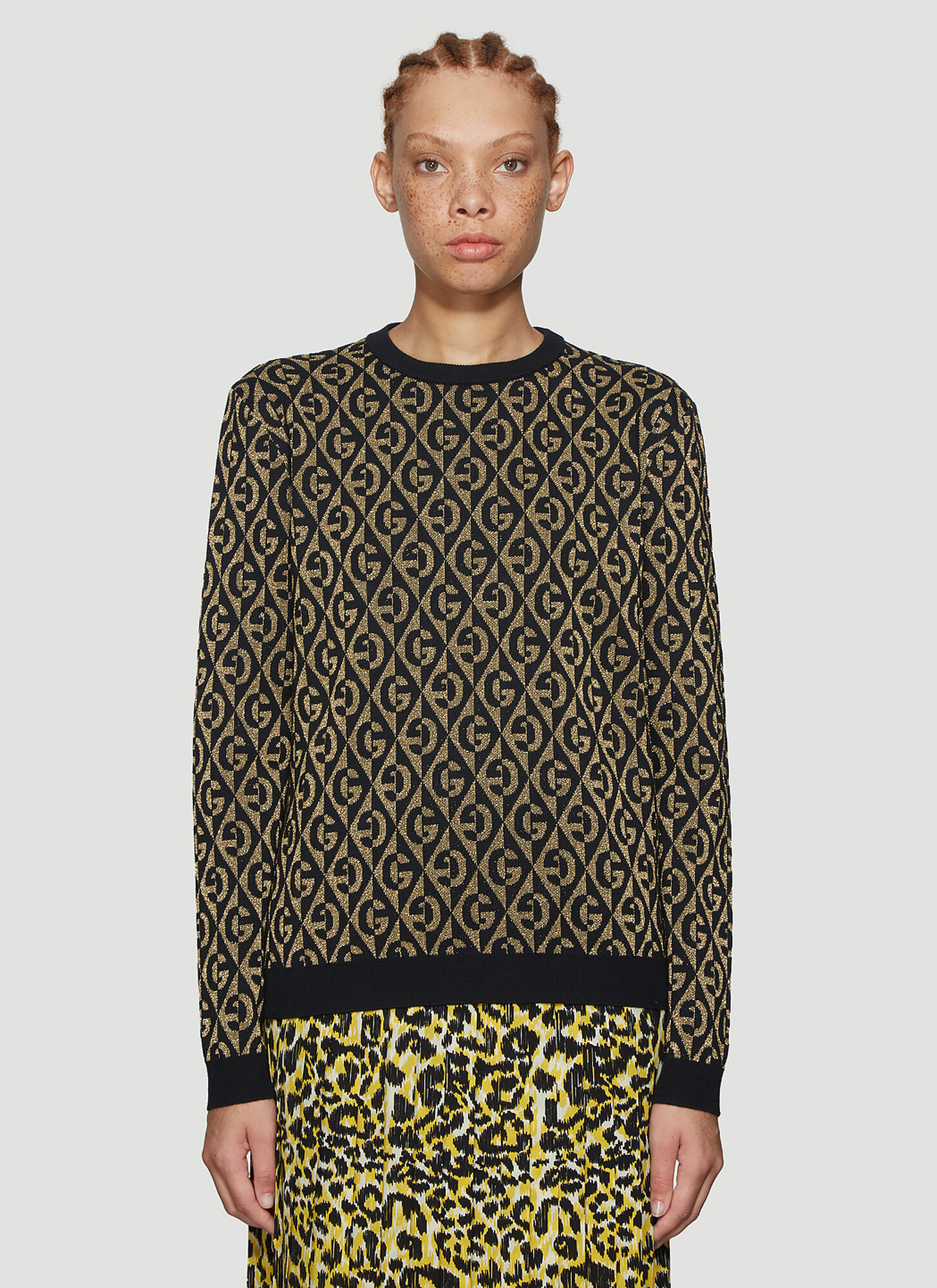 Gucci Metallic Knit Sweater in Black