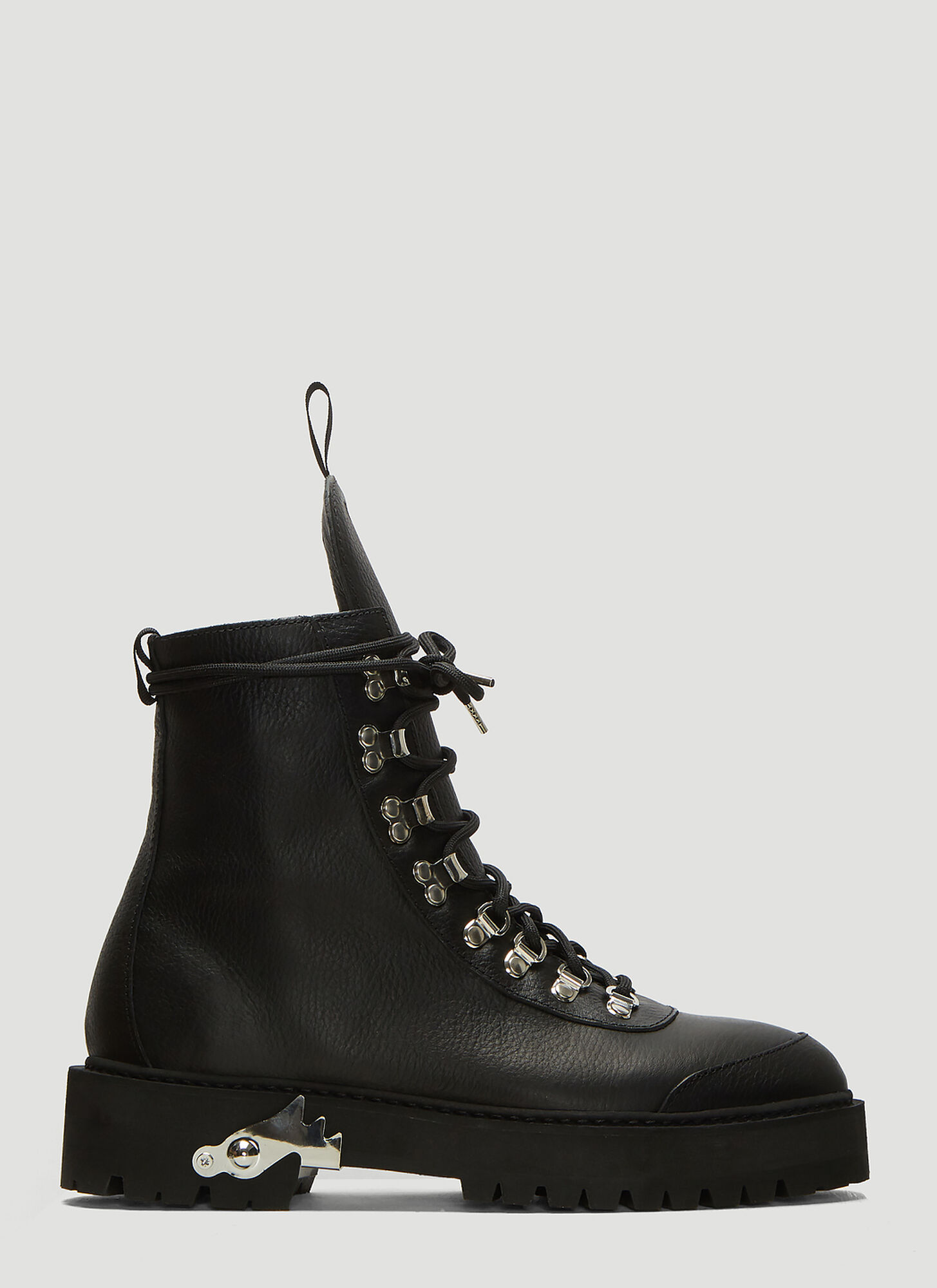 Off-White Leather Hiking Boots in Black