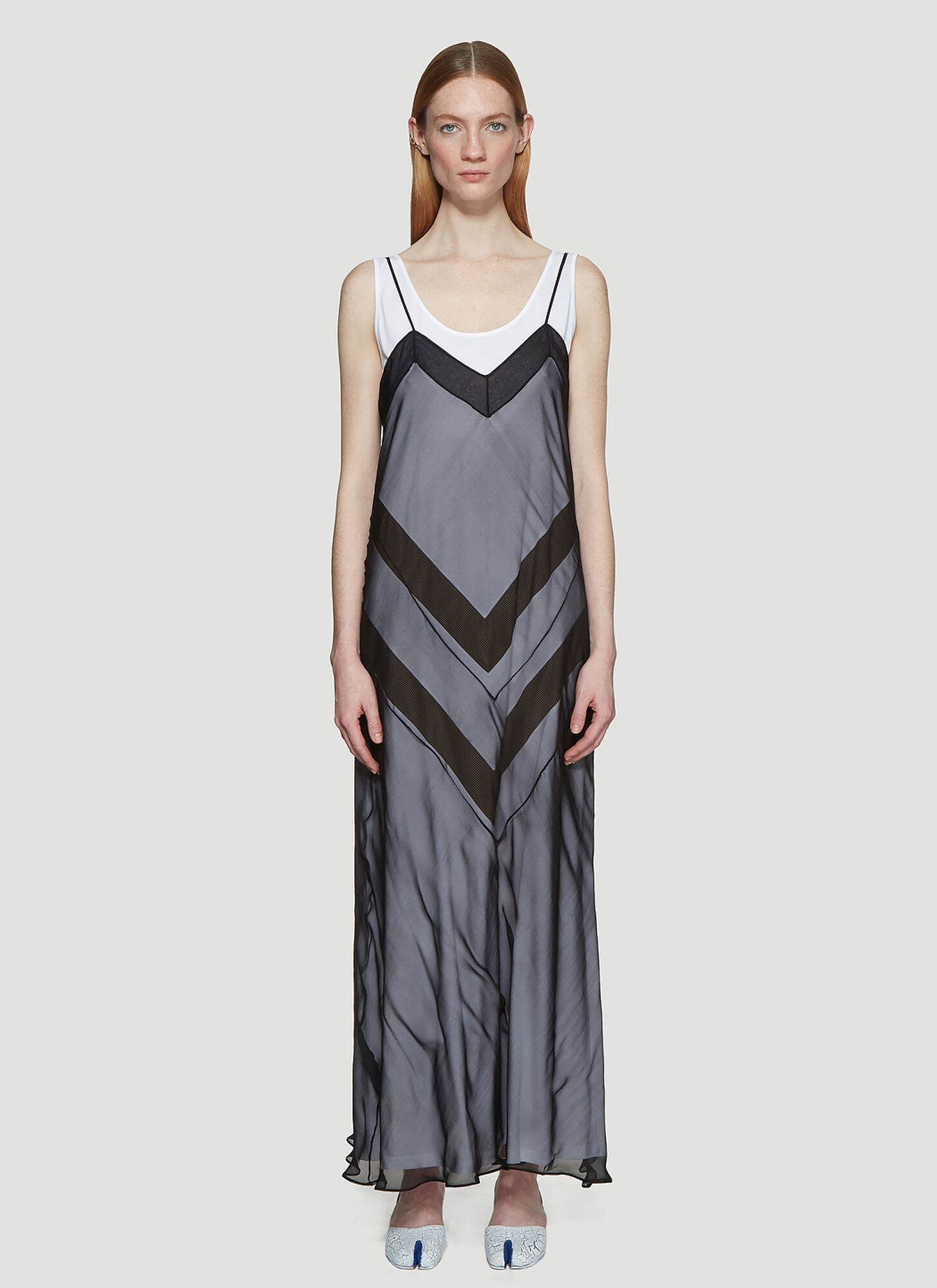 Maison Margiela Zig Zag Overlay Dress in Black