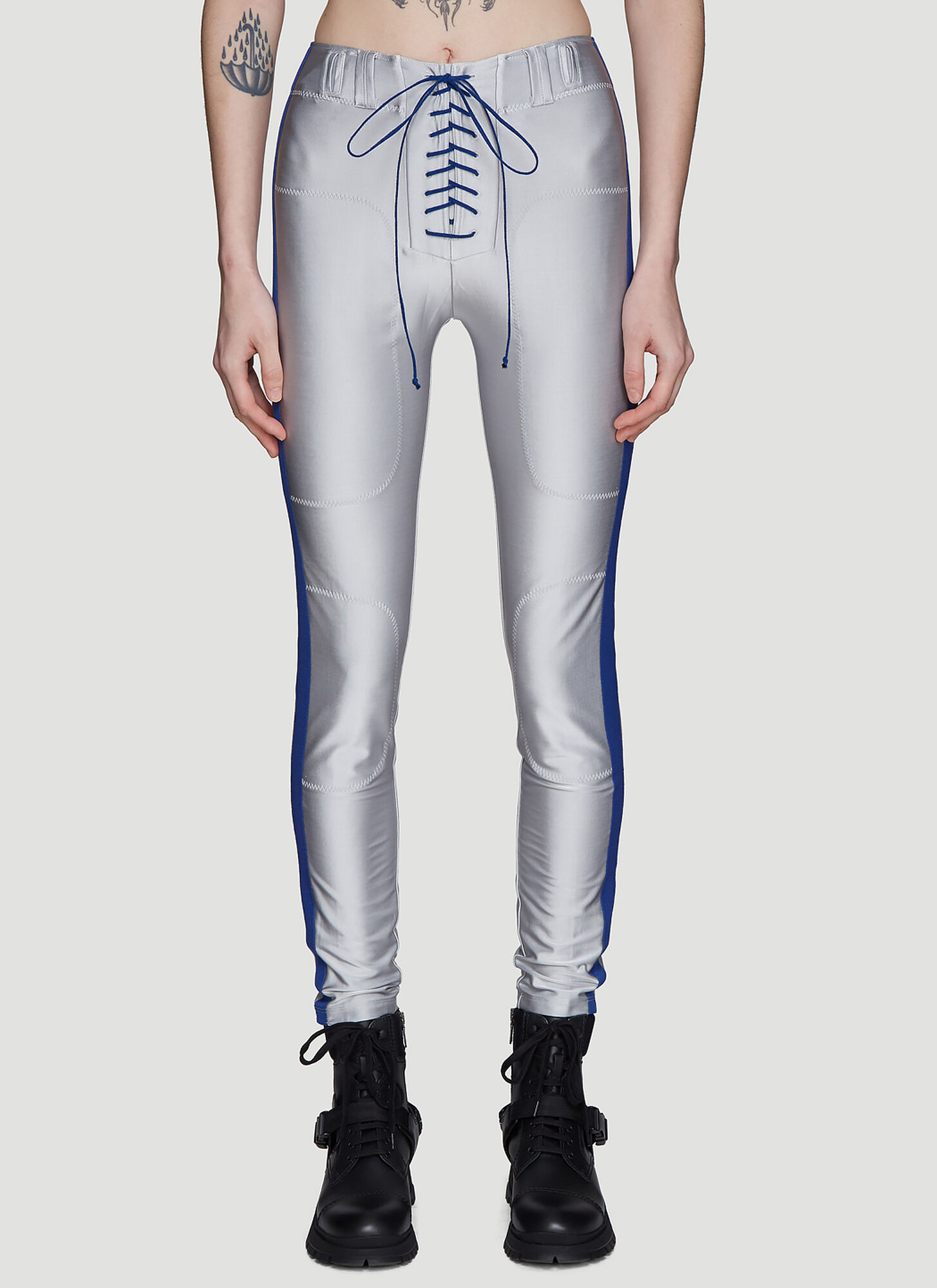 Photo of Unravel Project Lace-up Metallic Pants in Silver - Unravel Project Leggings