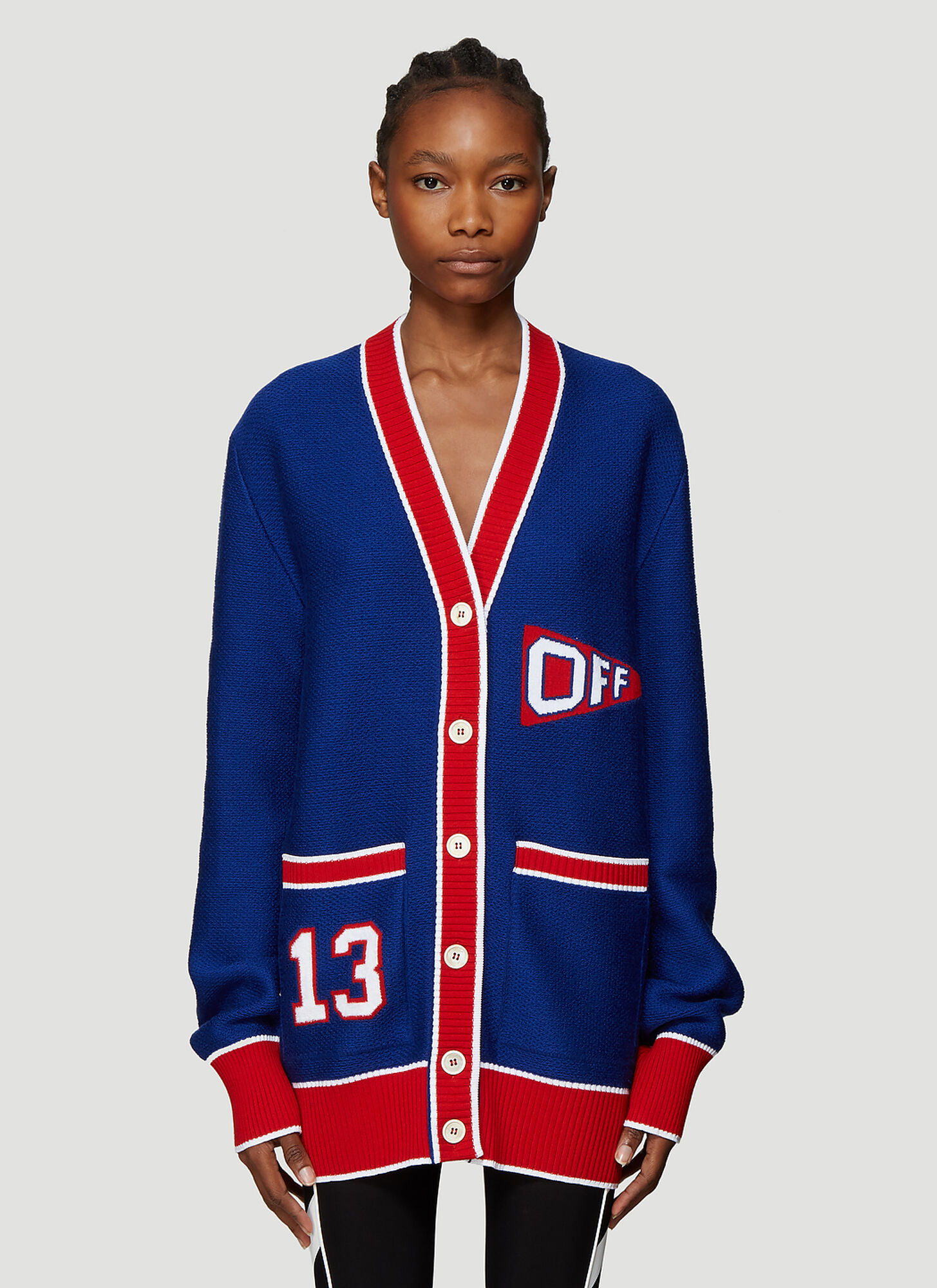 Off-White Varsity Flag Cardigan in Blue