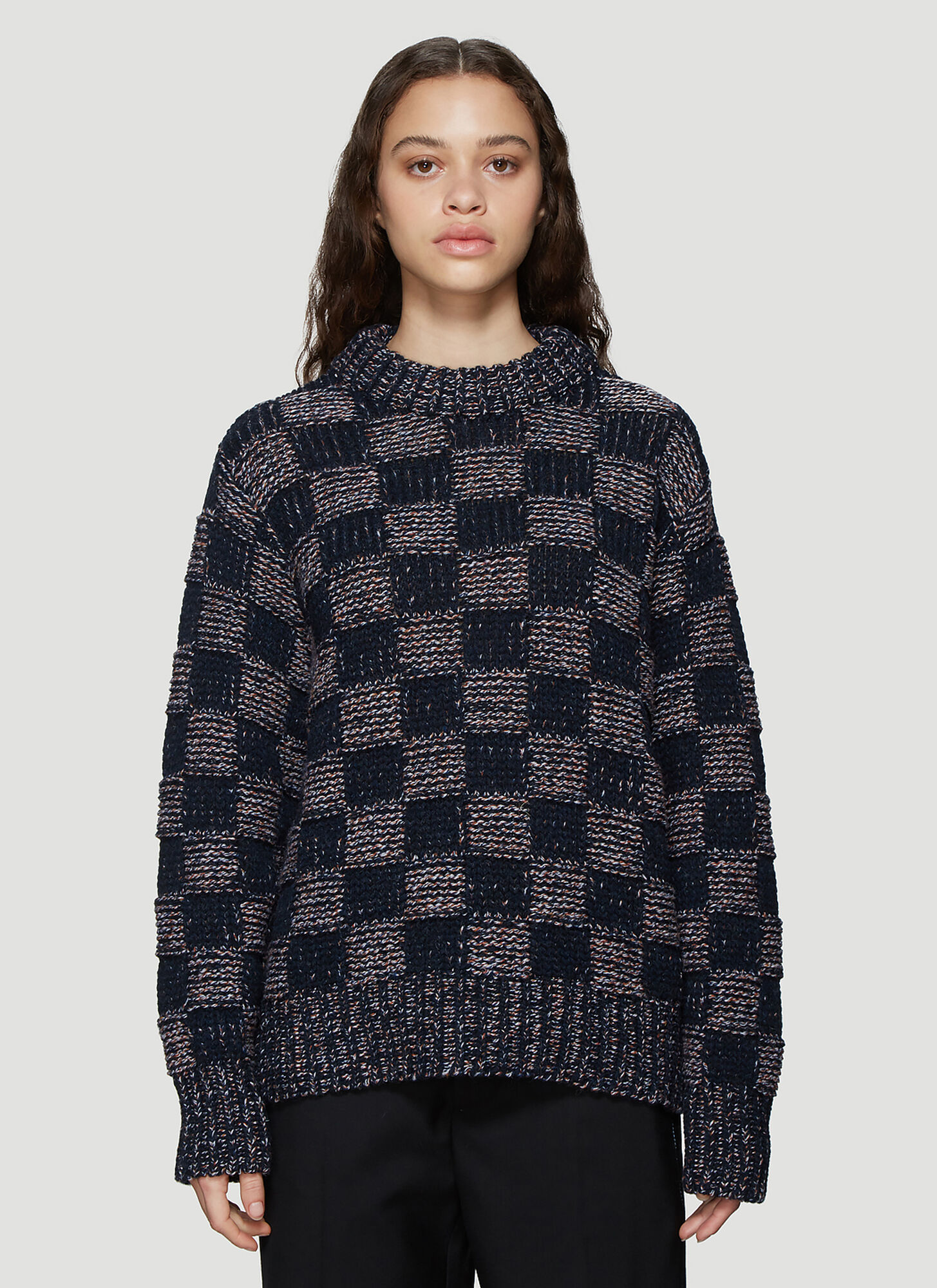 Marni Checked Sweater in Navy