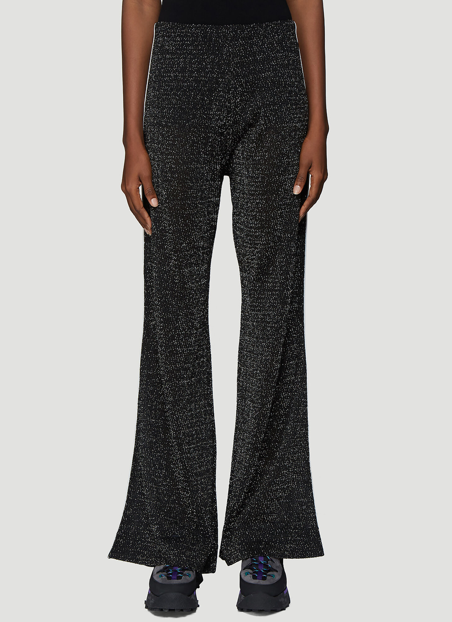 Acne Studios Lurex Flared Pants in Black