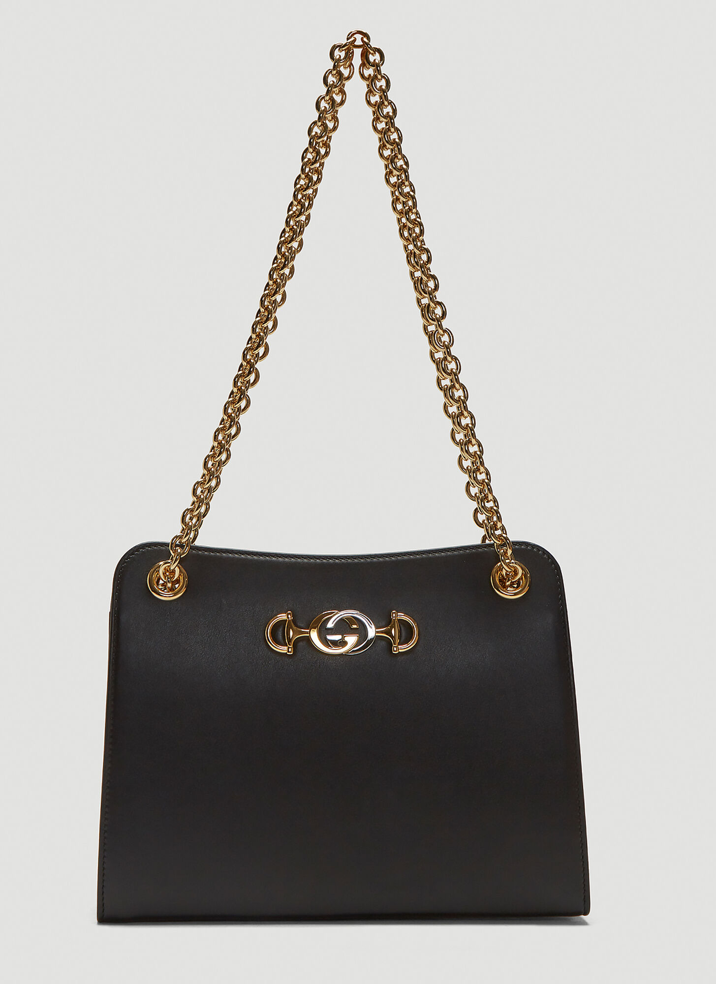 Gucci Zumi Leather Shoulder Bag in Black