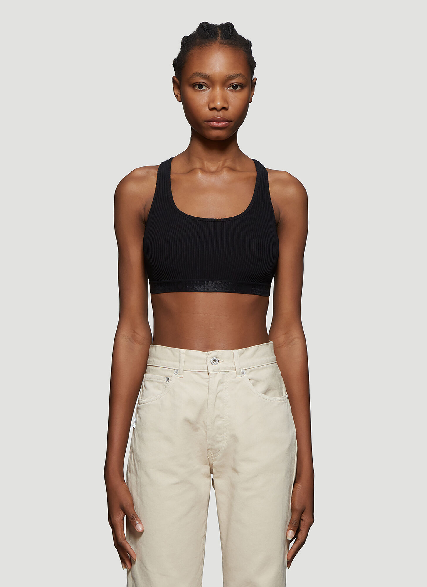 Off-White Logo Trim Bra Top in Black