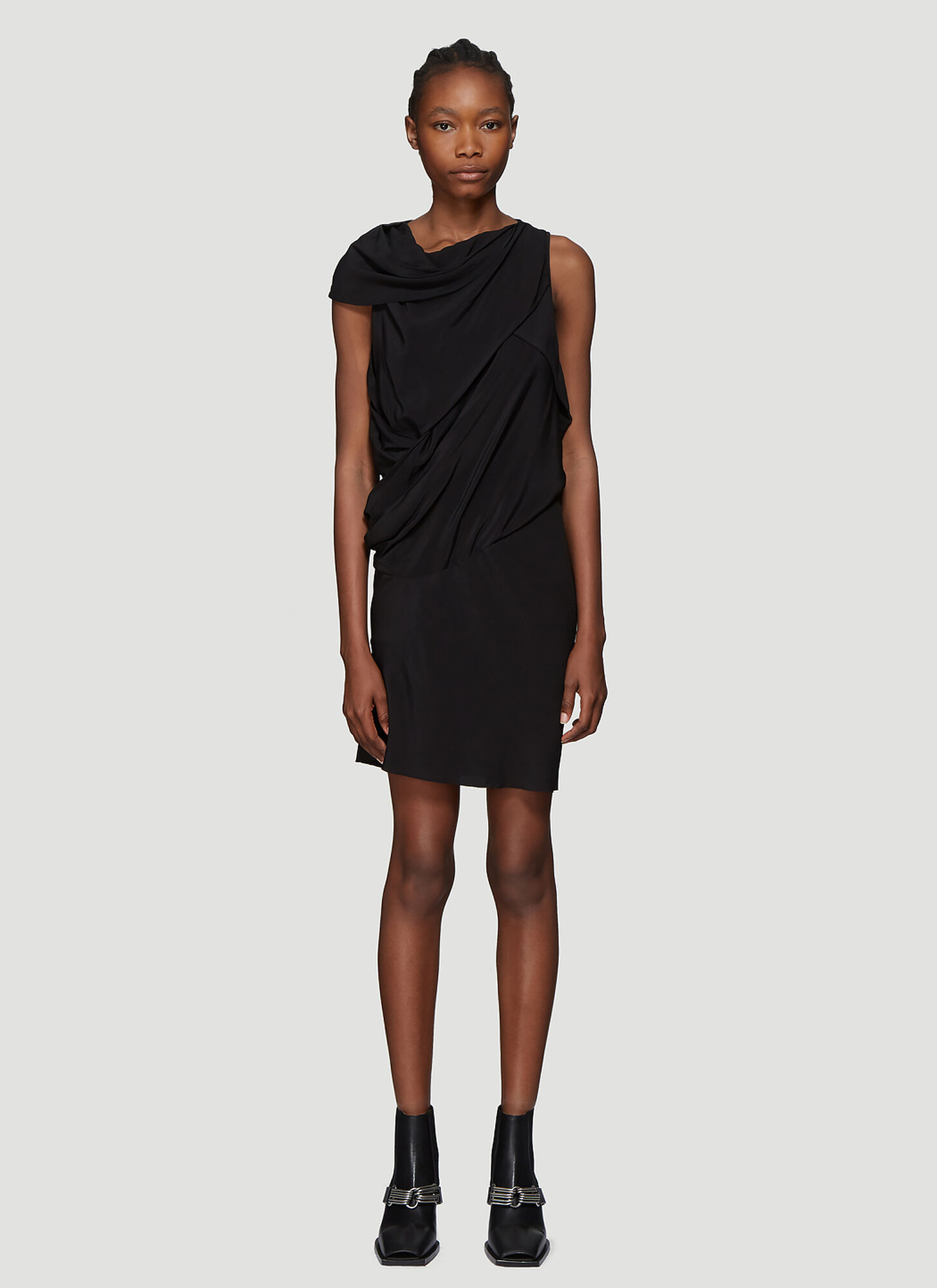 Rick Owens Draped Crepe Dress in Black