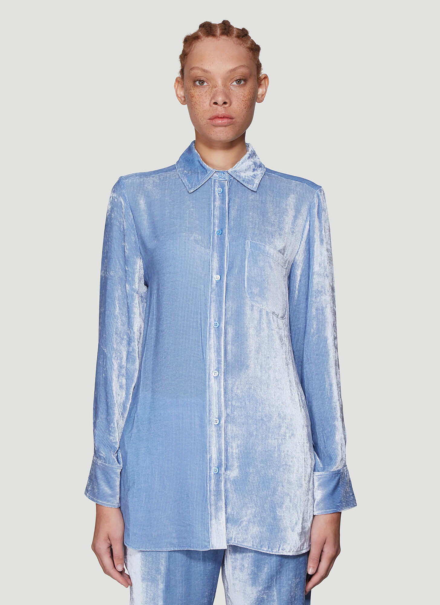 Sies Marjan Sander Fluid Corduroy Shirt in Blue