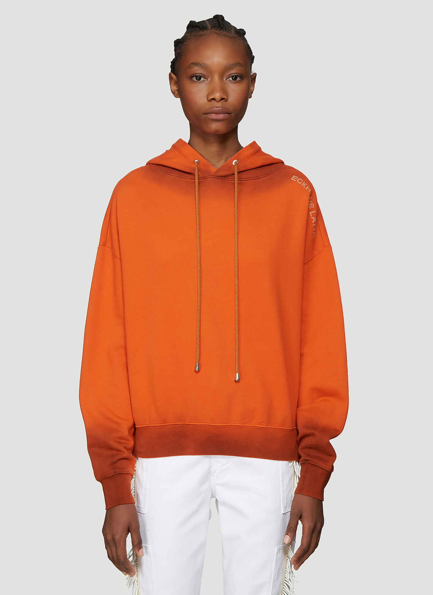 Eckhaus Latta Hooded Logo Sweatshirt in Orange