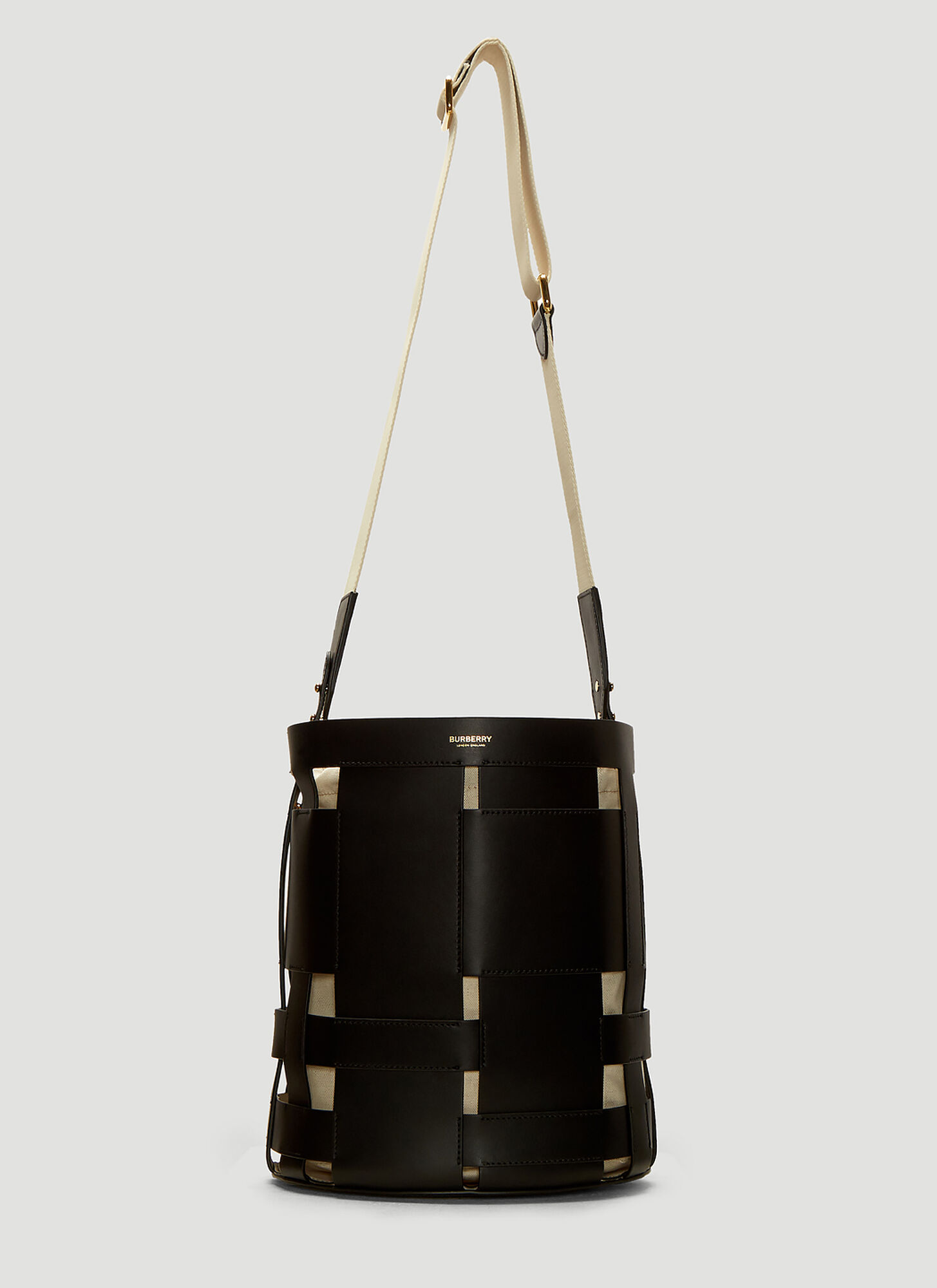 Burberry Woven Leather Bucket Bag in Black
