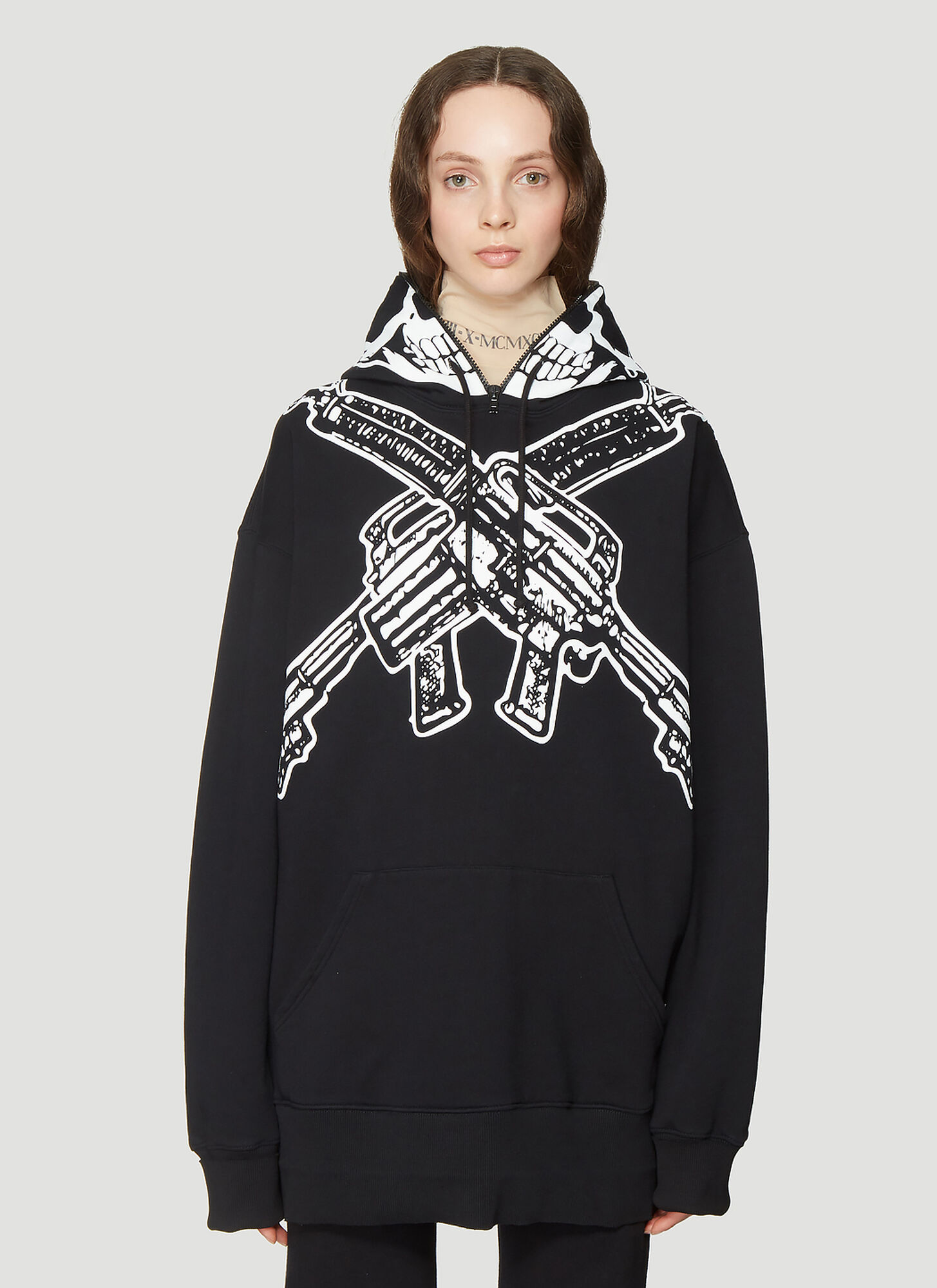 Vetements Oversized Skull Print Hooded Sweatshirt in Black