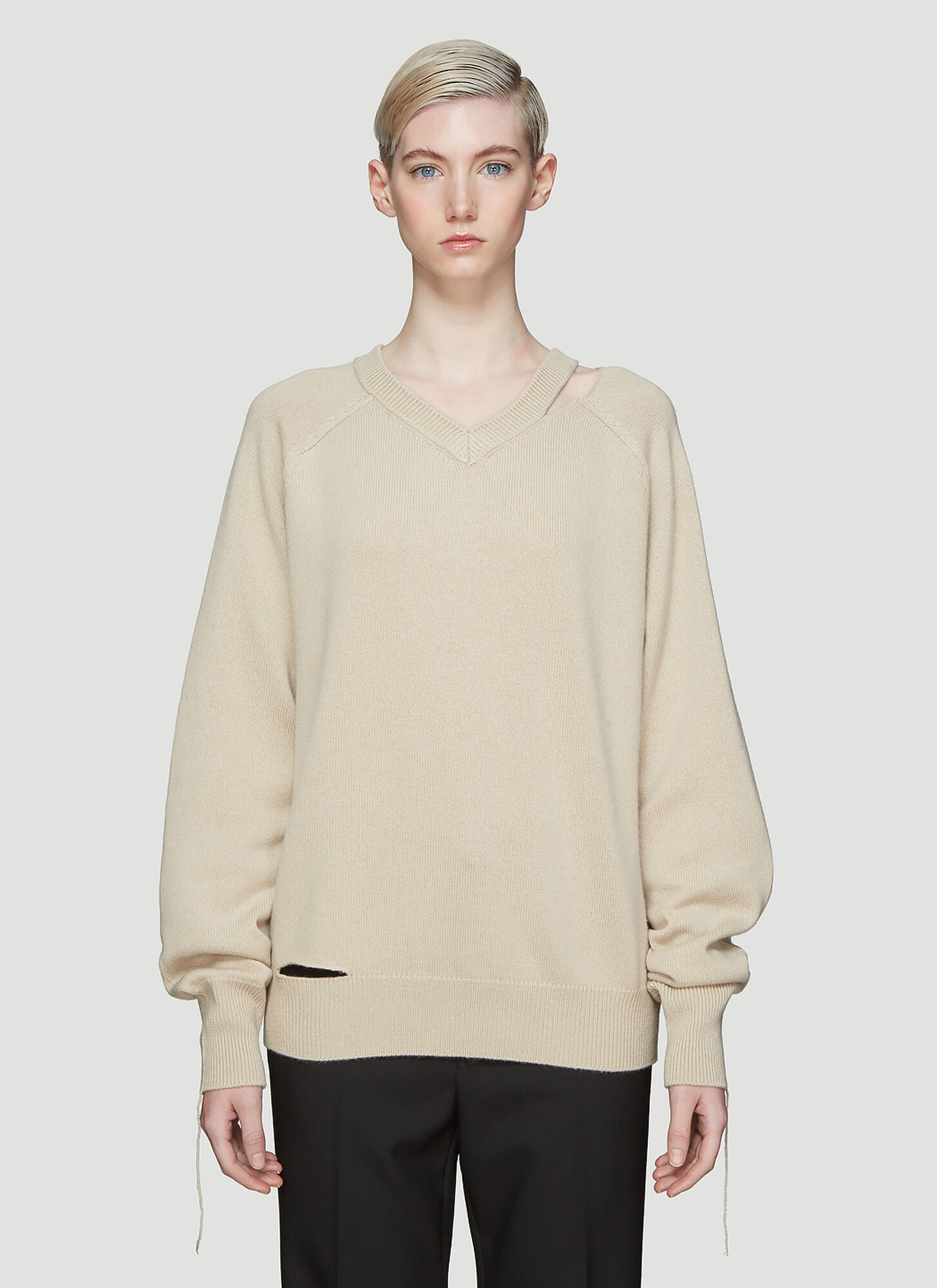 Helmut Lang Slash Neck Knit Sweater in Beige