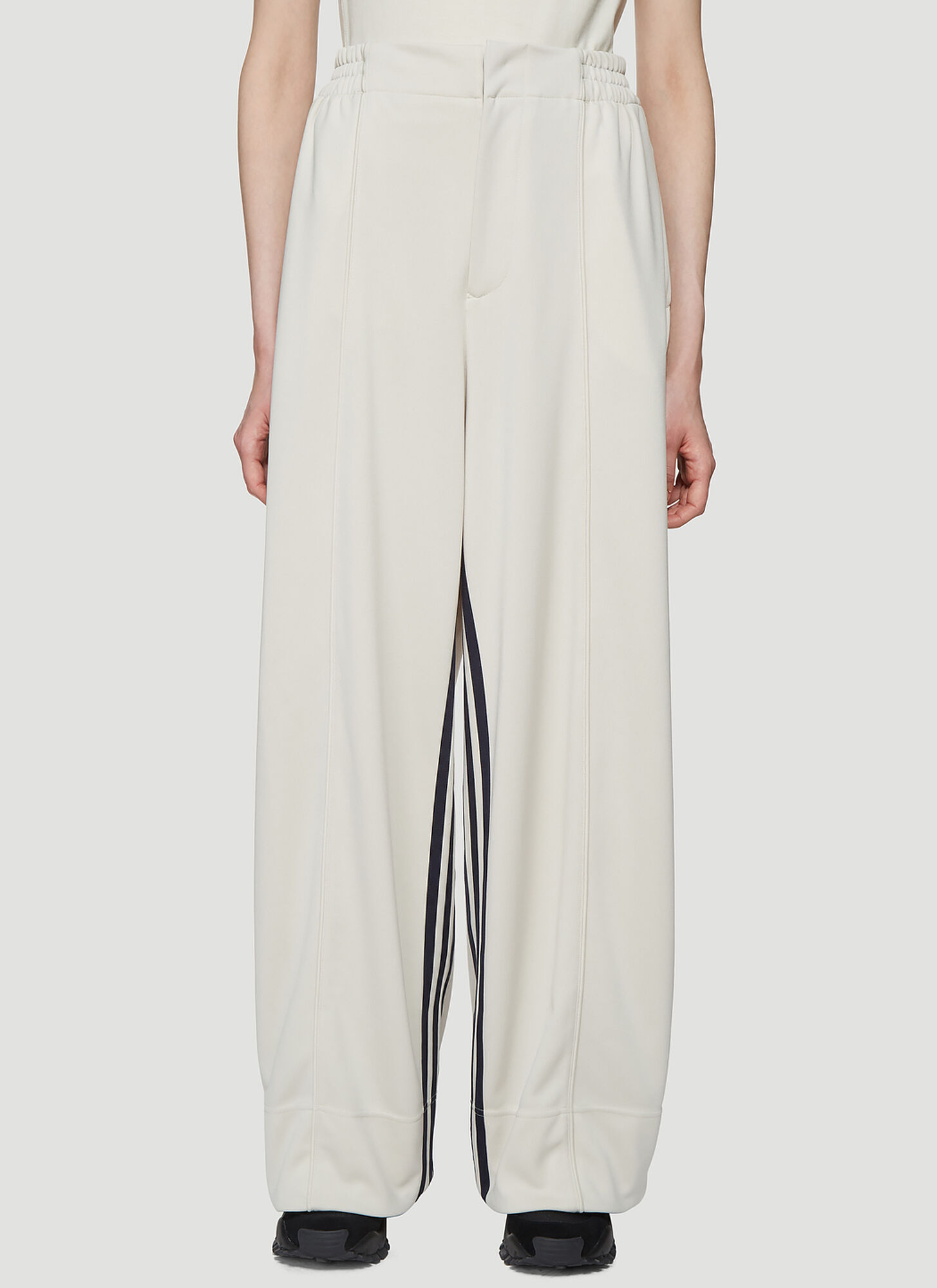 Y-3 Three Stripe Track Pants in Cream