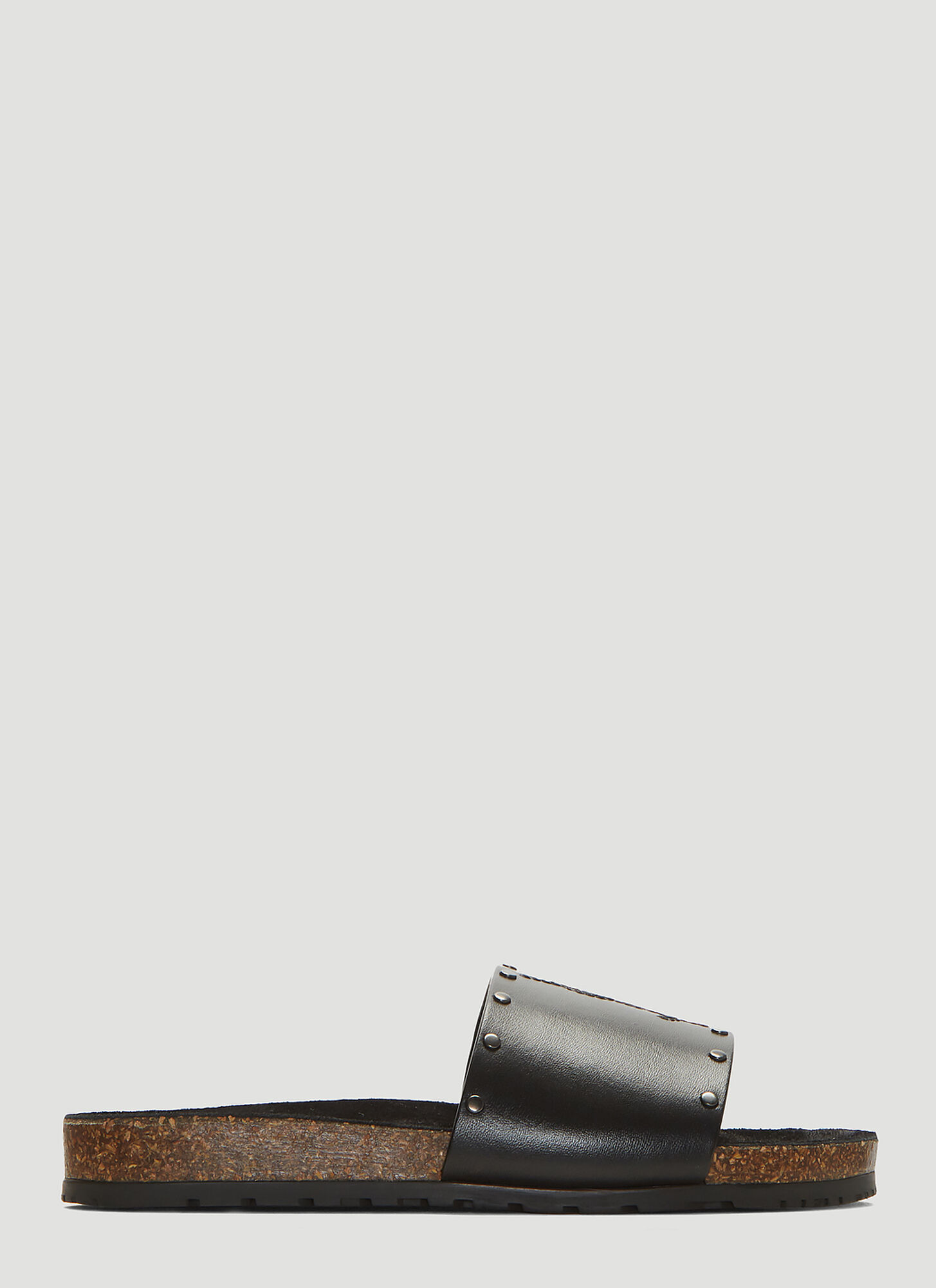 Saint Laurent Jimmy Logo Stud Slides in Black
