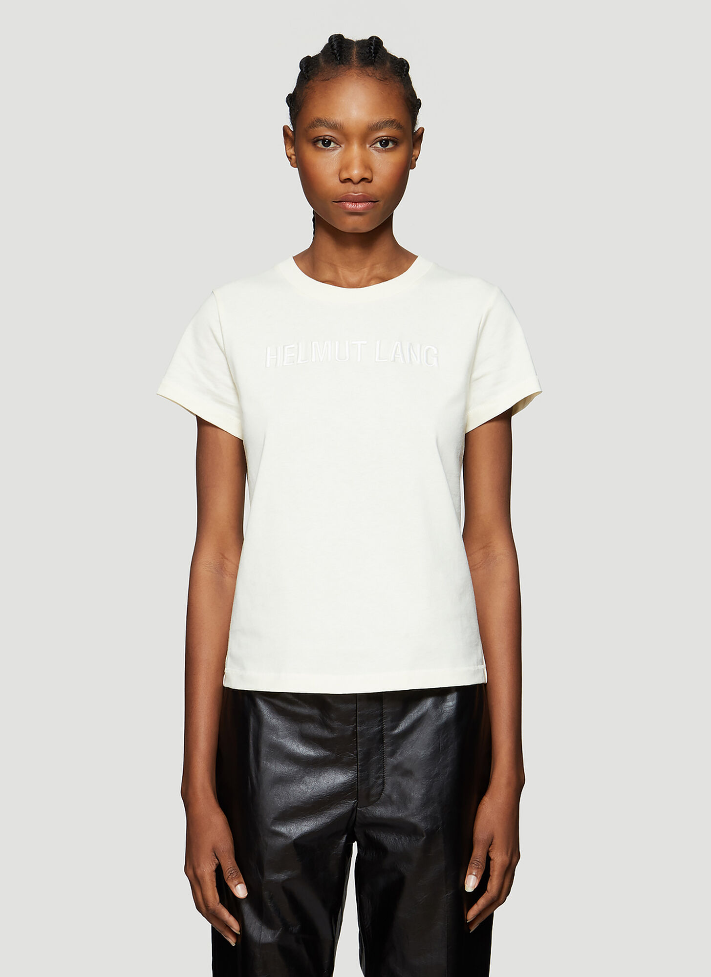 Helmut Lang Baby Logo Embroidered T-Shirt in Cream