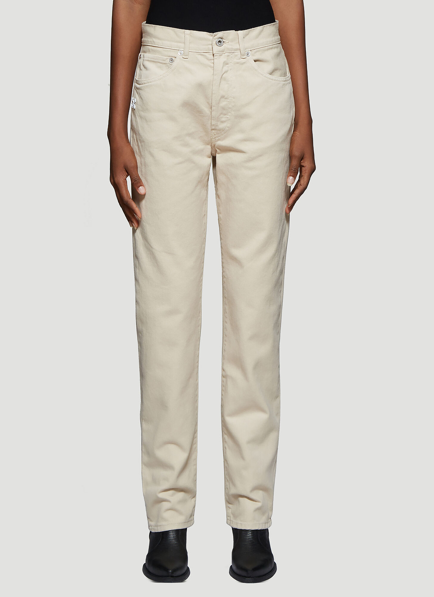 Off-White Diag Straight Leg Jeans in Beige