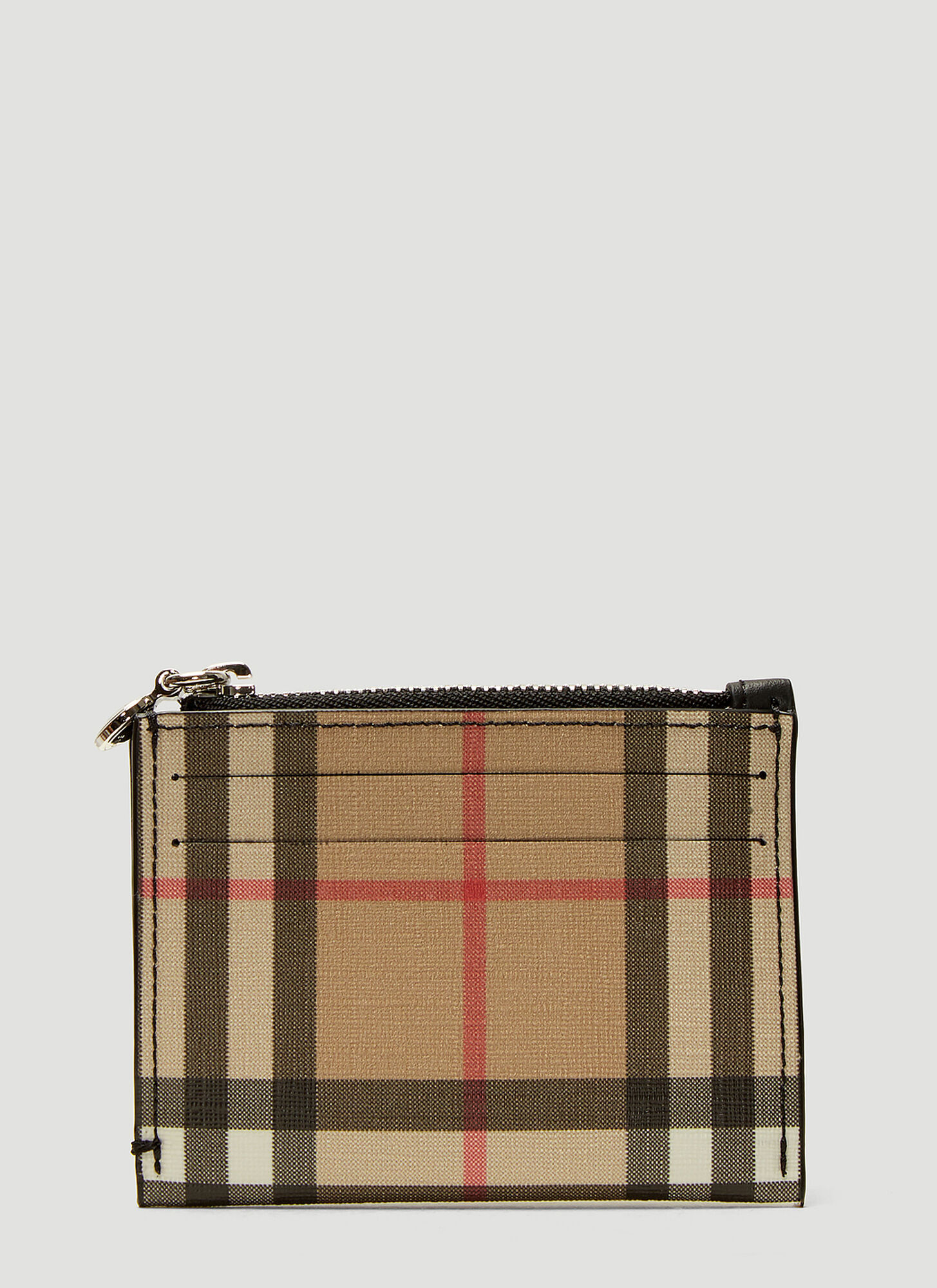 Burberry Vintage Check Zip Card Holder in Beige