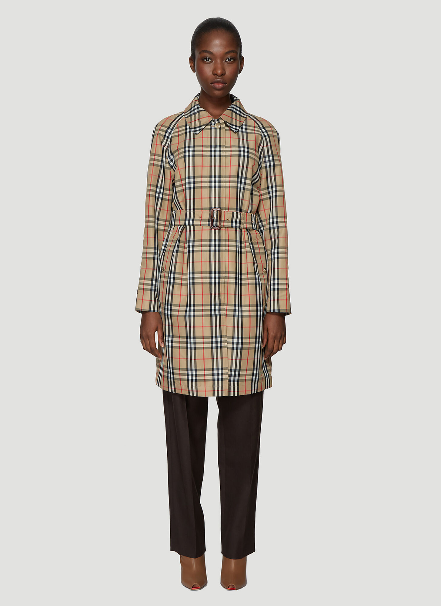 Burberry Vintage Check Nylon Belted Car Coat in Brown