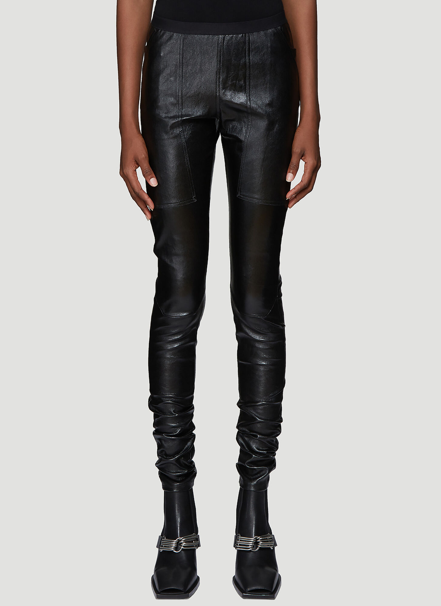 Photo of Rick Owens Leather Leggings in Black - Rick Owens Leggings