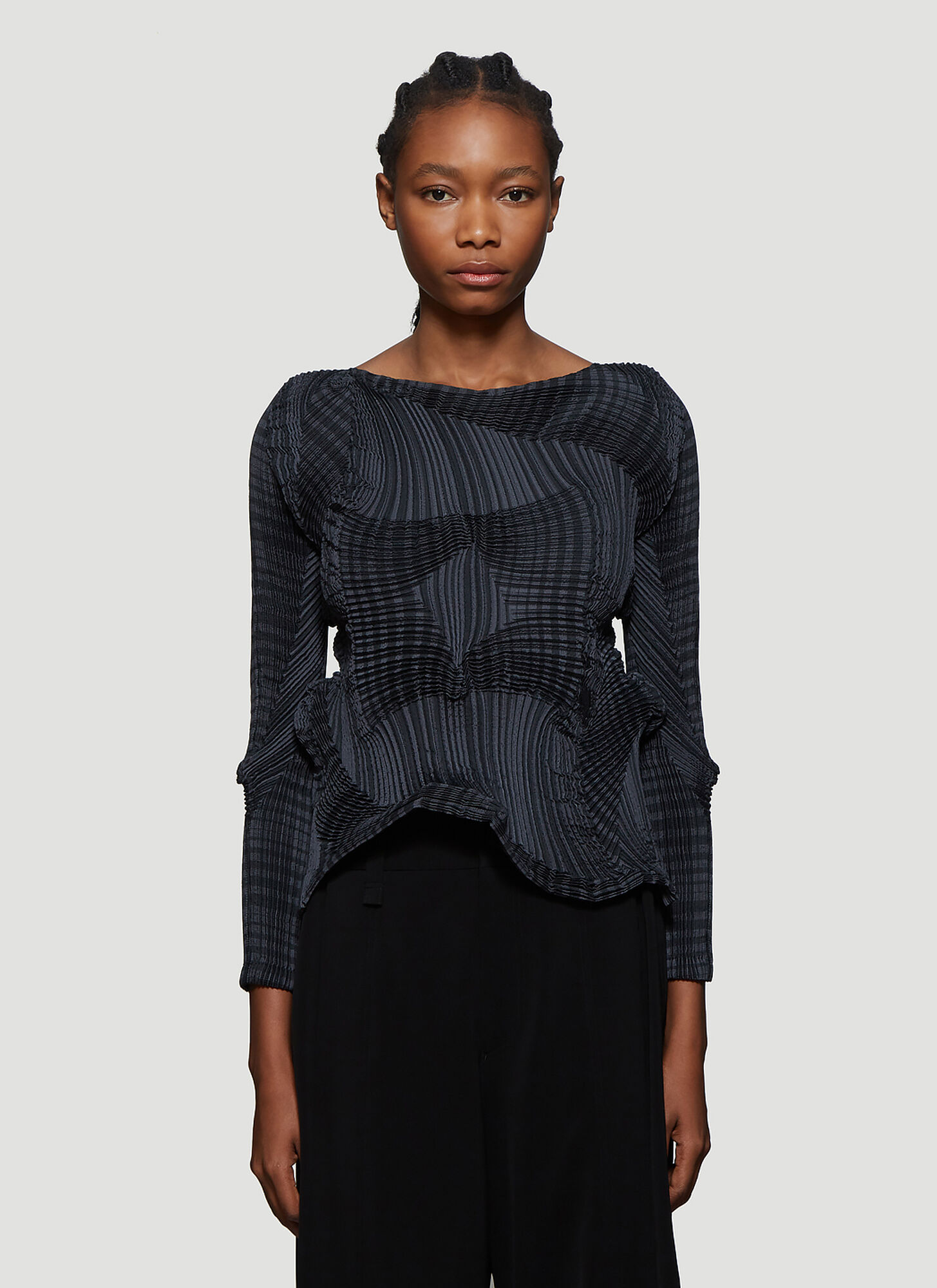 Issey Miyake Contrast Pleat Top in Grey