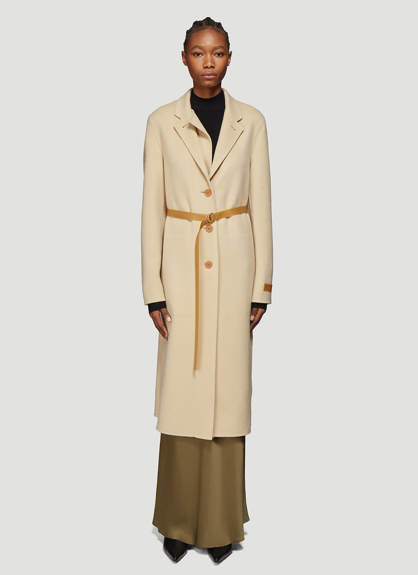 Helmut Lang Double Lapel Coat in Beige