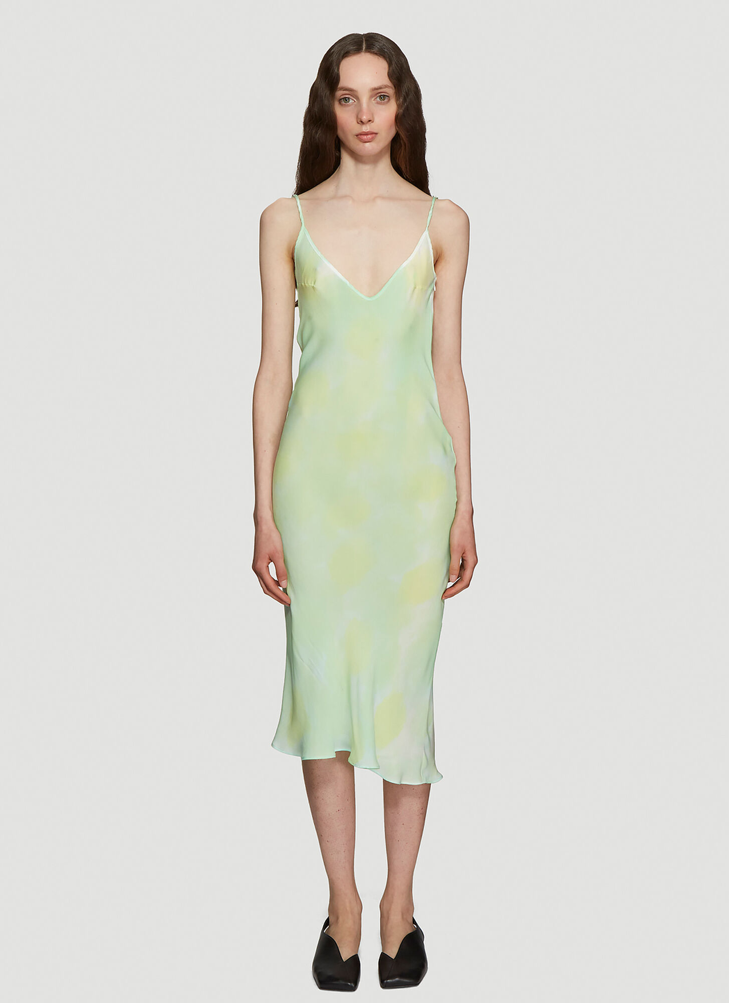 Collina Strada Barbarella Silk Tie-Dye Dress in Green