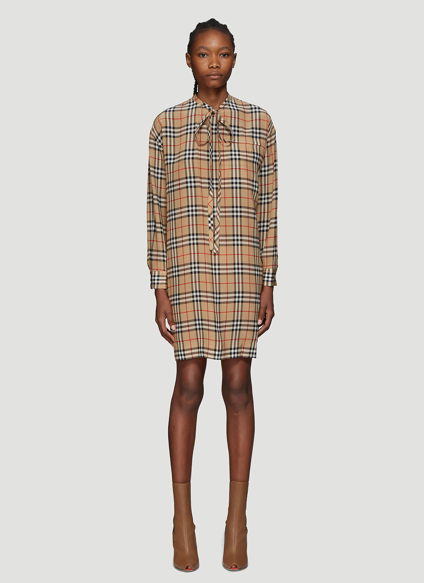 Burberry Vintage Check Tie-Neck Dress in Beige