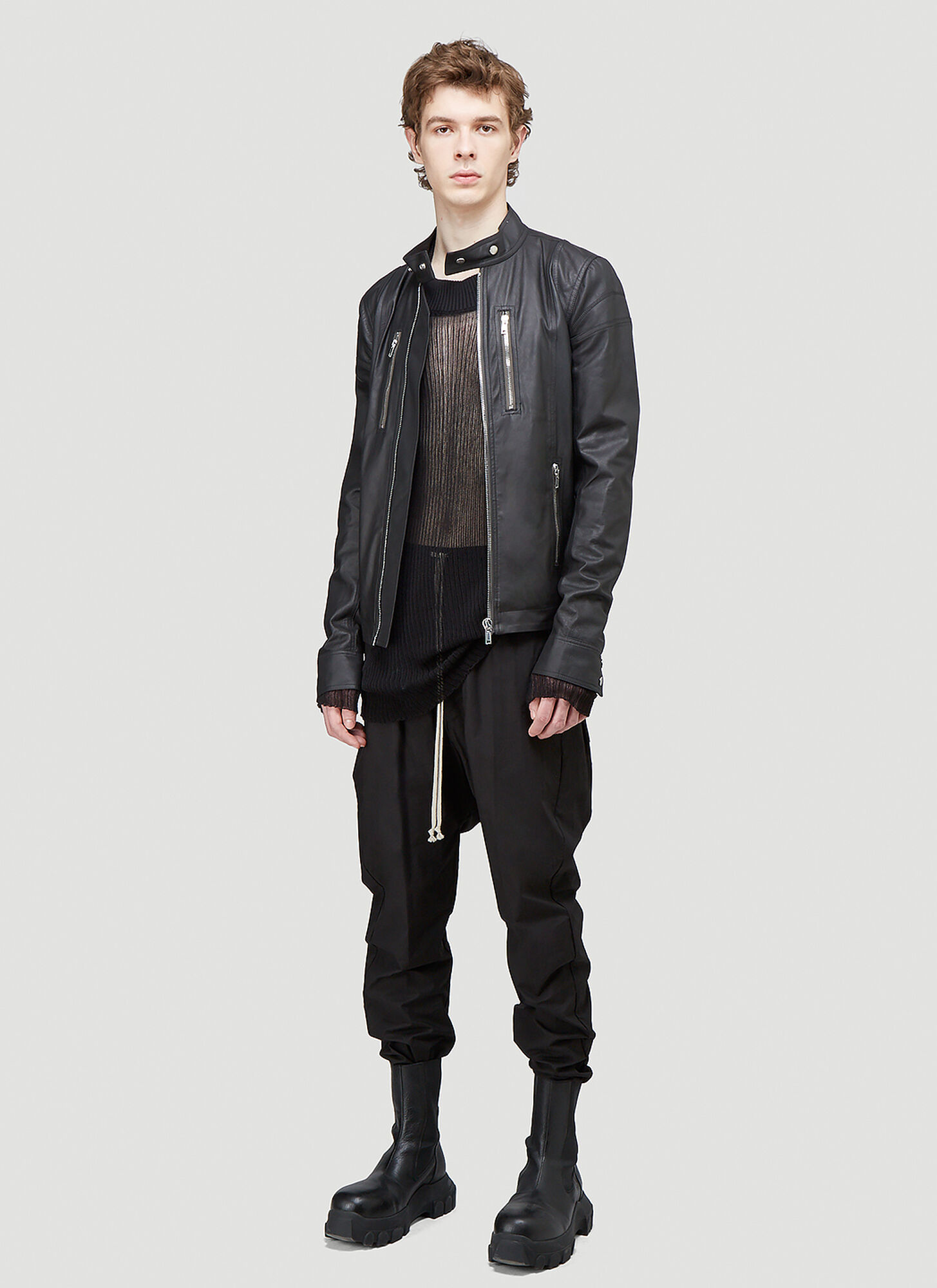 Rick Owens Ties Leather Jacket in Black | LN-CC male Black 100% Leather. Dry clean.