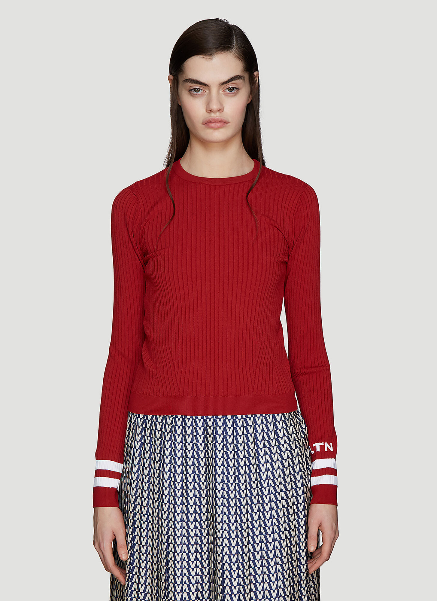 Valentino Jacquard Ribbed Knit Top in Red