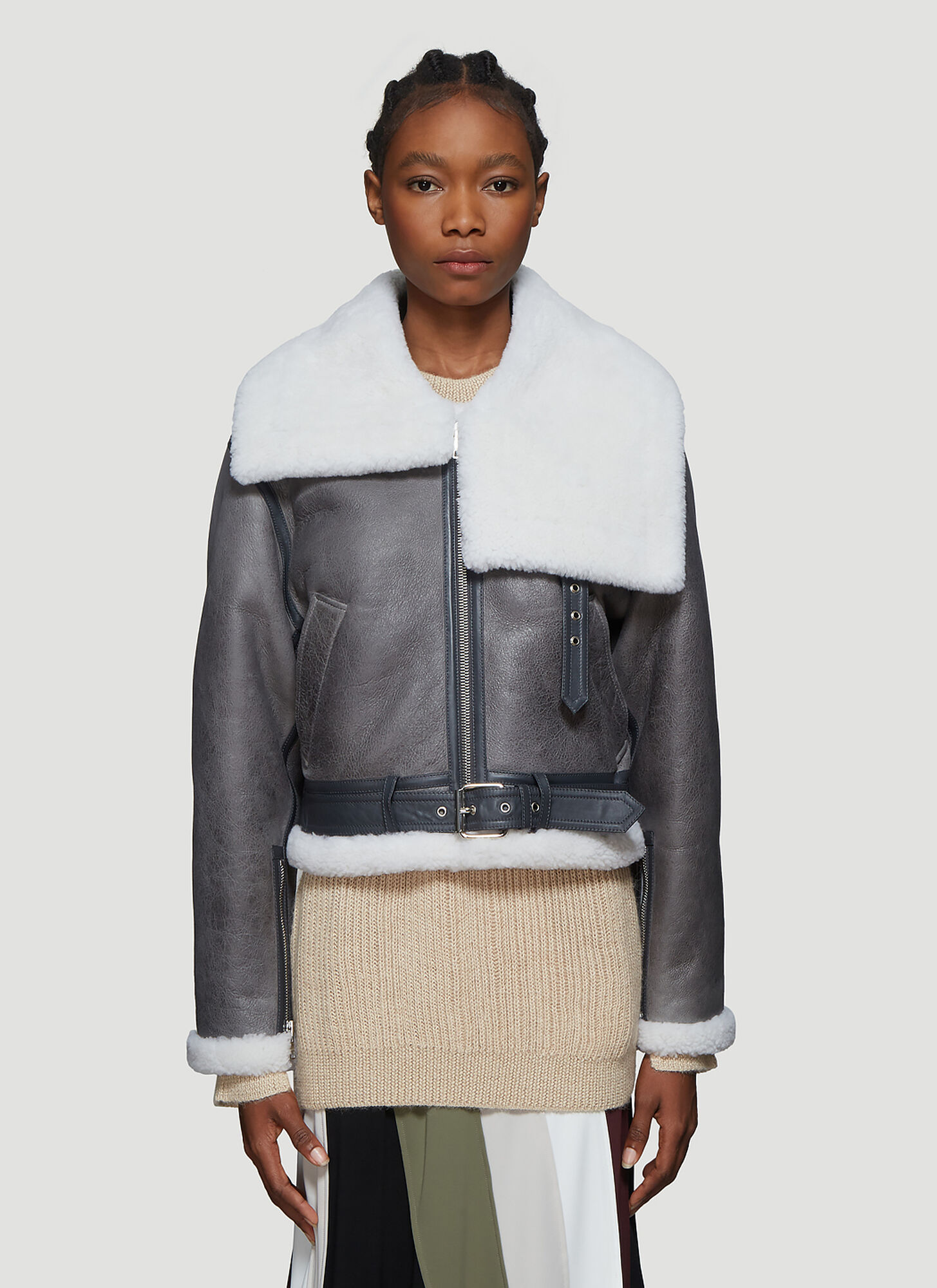 JW Anderson Cropped Shearling Jacket in Grey