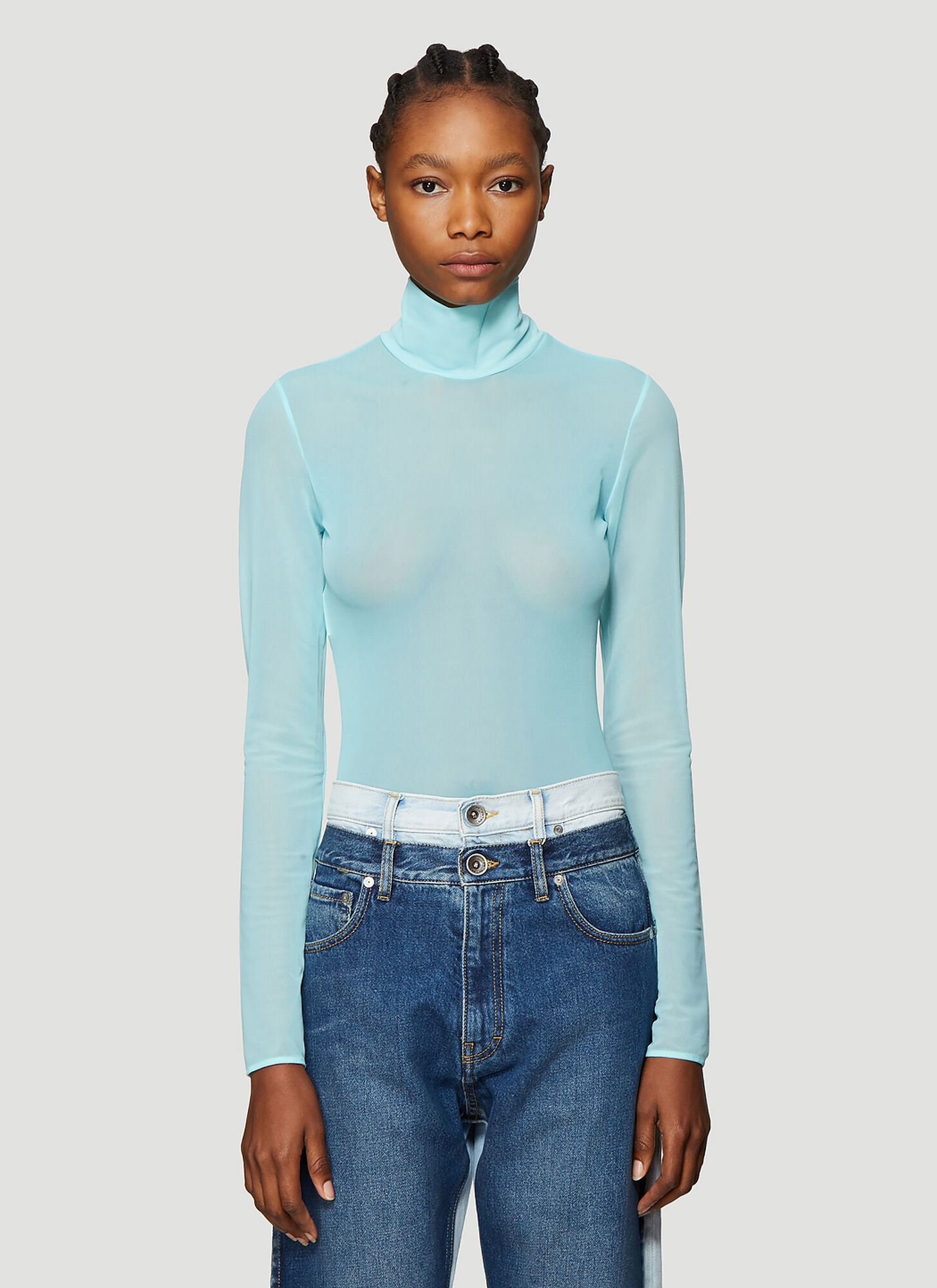 Maison Margiela Turtleneck Sheer Bodysuit in Blue