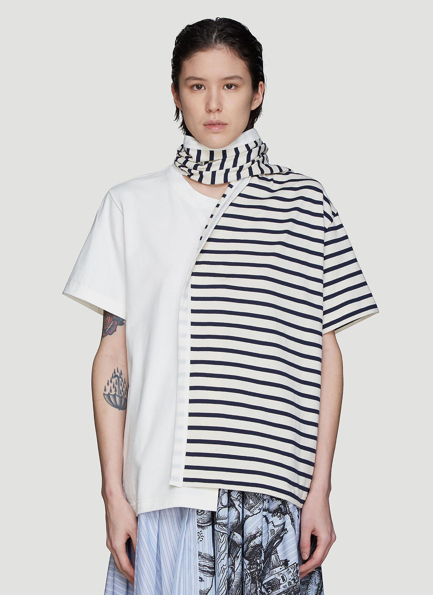 JW Anderson Striped Drape Scarf T-Shirt in Cream