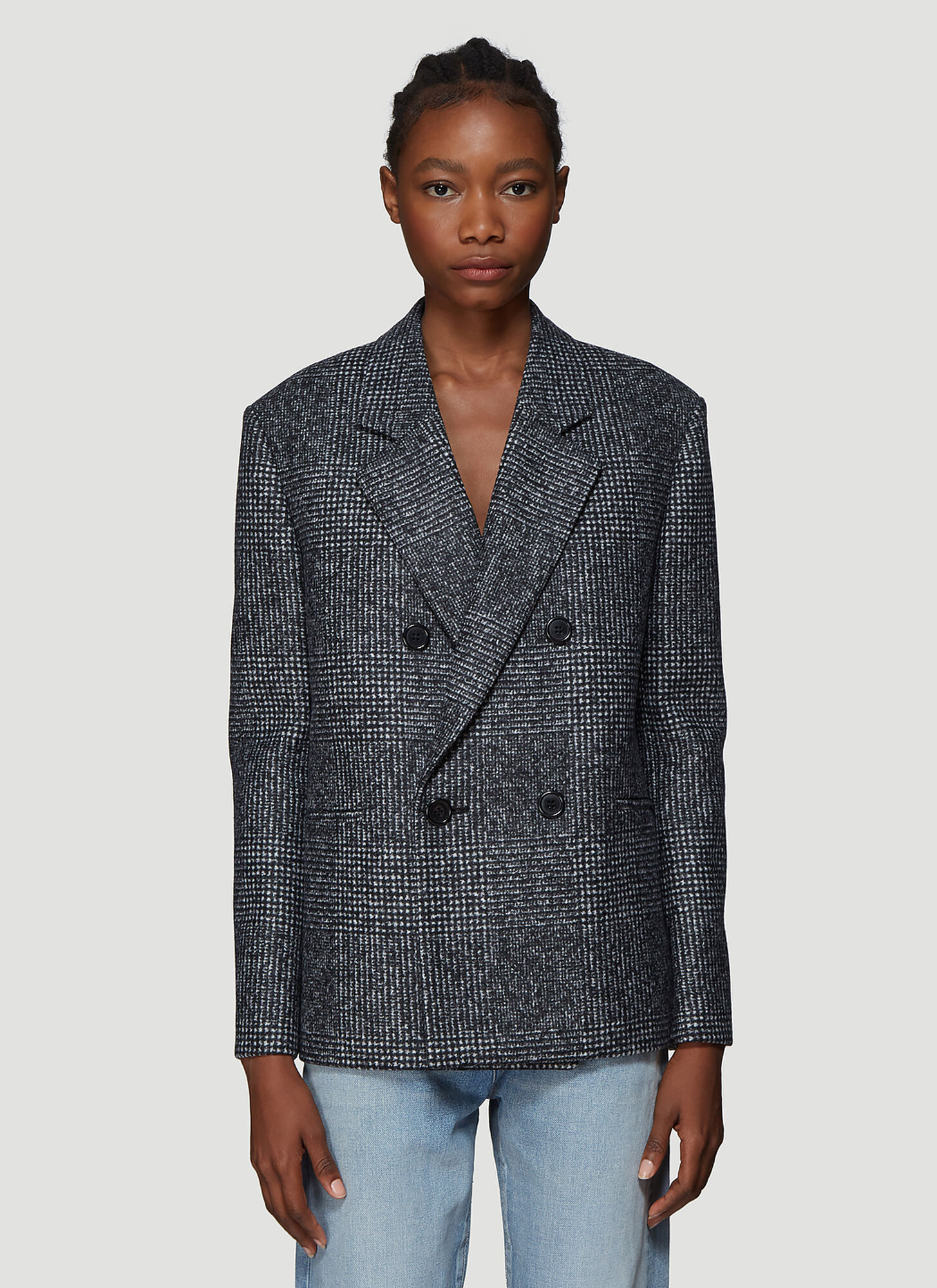 Saint Laurent Double Breasted Blazer Jacket in Grey