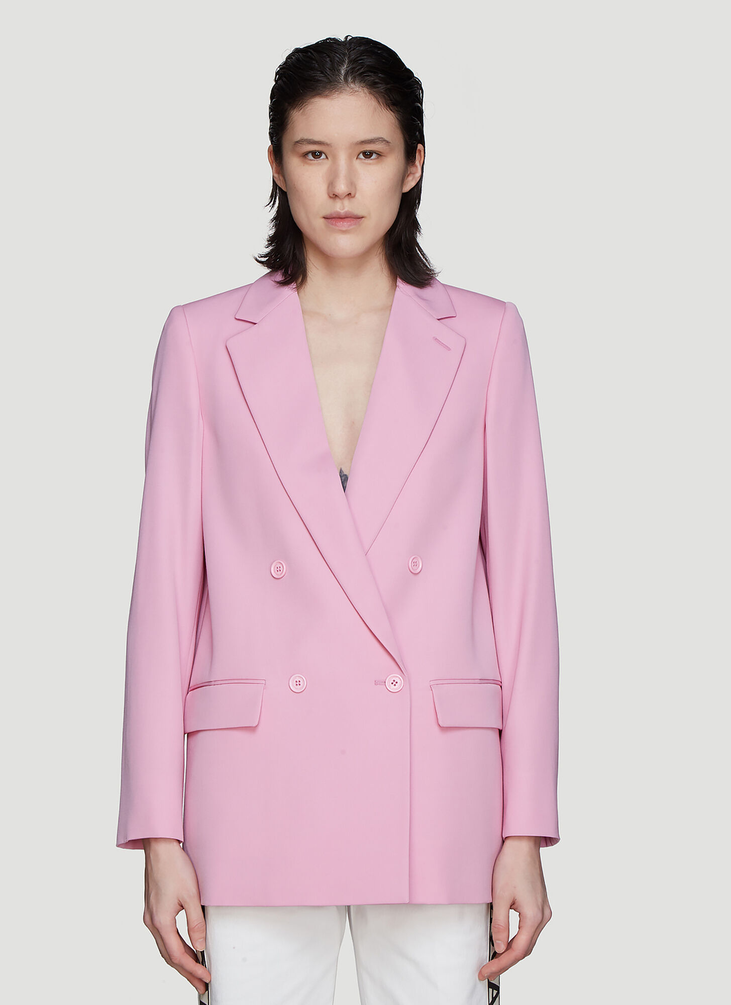 Photo of Stella McCartney Double Breasted Jacket in Pink - Stella McCartney Blazers