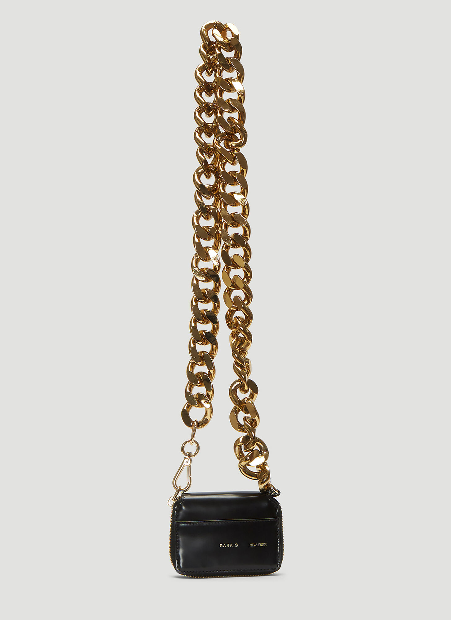 Kara Curb Chain Bikers Wallet (Exclusive Gold Chain Edition) in Black